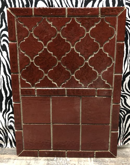 Red Arabesque Tile Pattern