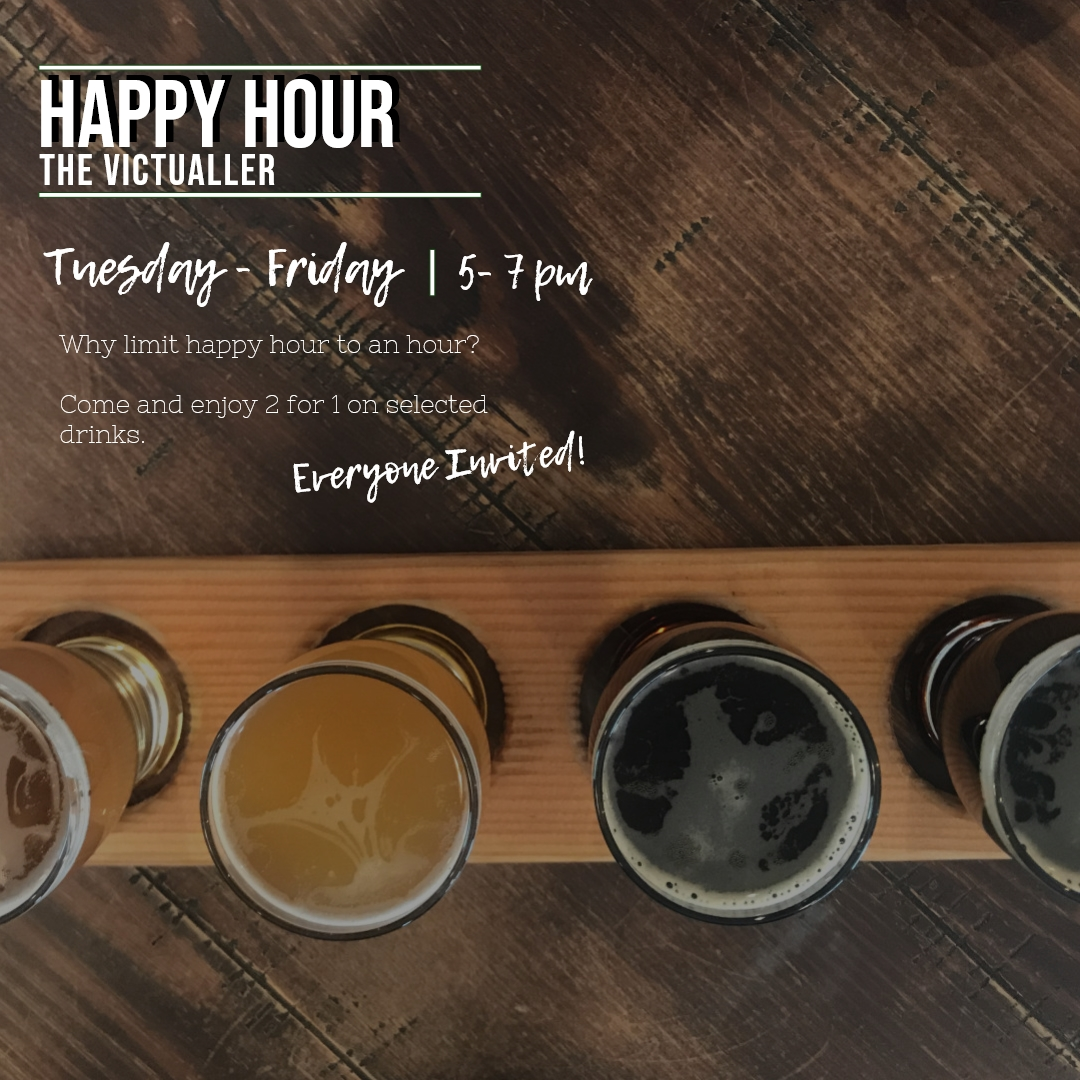 happy hour - Our happy hour is every Tuesday until Friday from 5pm to 7pm (On selected drinks only)