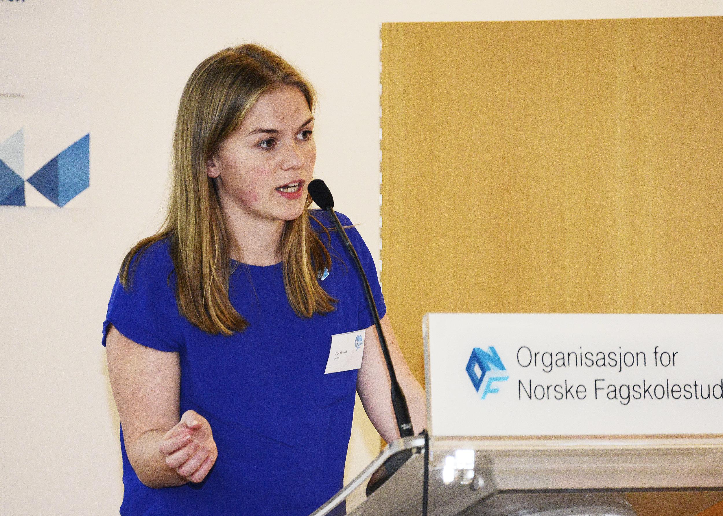 Avtroppende leder Silje Kjørholt sier hun er trygg på at de nye tillitsvalgte vil vinne flere seire for studenter på fagskoler.