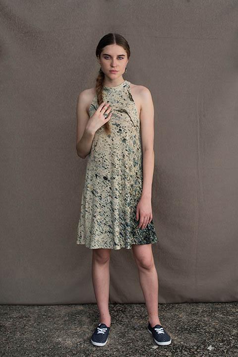 YC2KBD70 Bias printed cotton linen knit dress