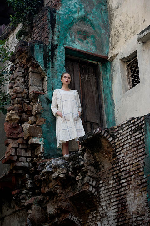 YC2D78 Off white paneled dress with big blue check in hand woven bengal cotton with concealed pockets