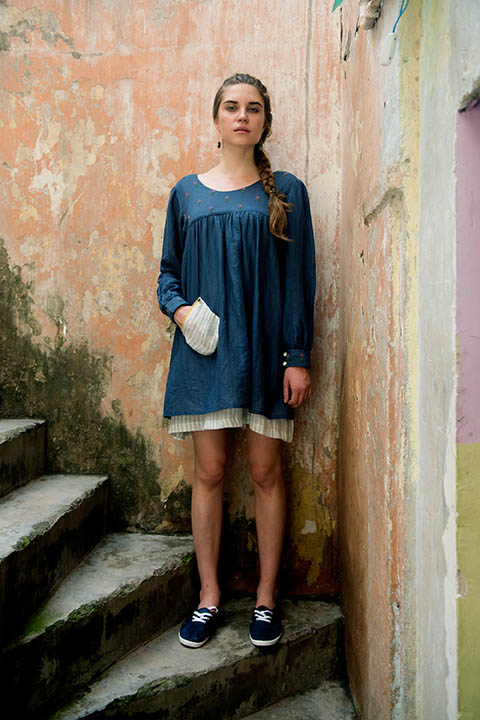 YC2D28 Navy blue cotton linen peasant dress with embroidered yoke, patch pocket and striped hem detail