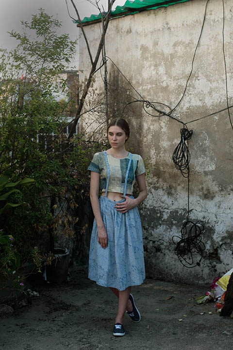 YC2KCT66 Multiple blue block print on cotton linen knit crop top  YC2DS59 Printed dungaree skirt in cornflower blue