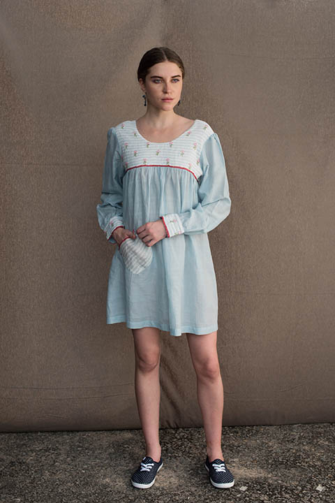 YC2D29 Light blue cotton linen peasant dress with embroidered yoke and patch pocket