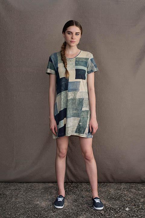 YC2KSD68 Blue multi block straight cotton linen knit dress