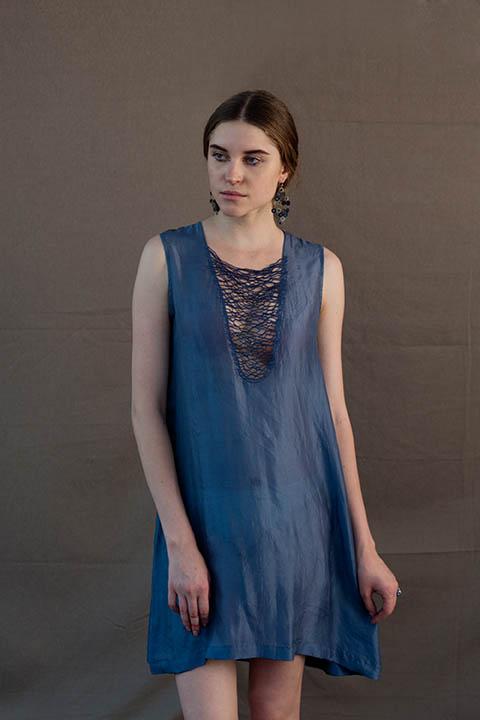 YC2D48 Silk navy dress with sheer embroidery Alt. colour option : Carolina blue