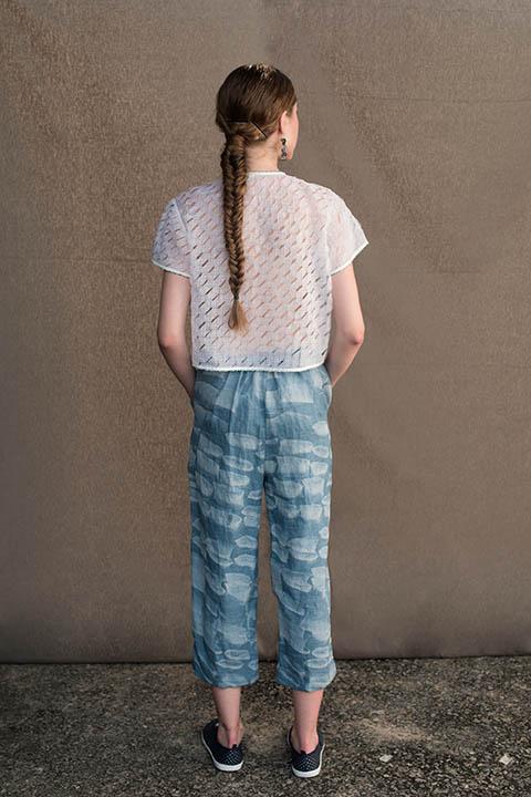 YC2JKT51 Sheer translucent shrug with beadwork edging  YC2P8 Carolina blue printed linen capri with side pockets