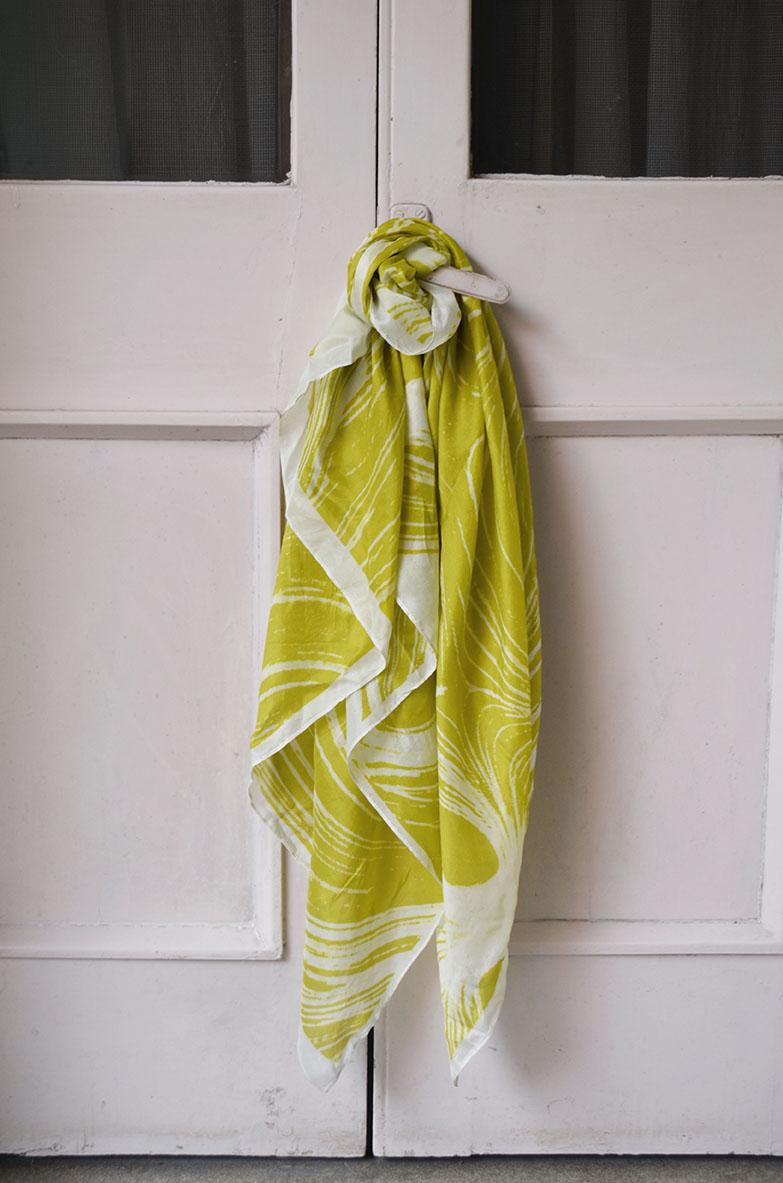 YC2ST7    Lines mustard printed stole in  habutai  silk  110 cm x 100 cm