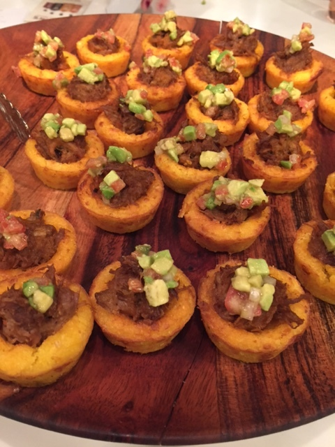 Mini BBQ Pork Buns and BBQ Chicken in Masa cups with avocado relish.
