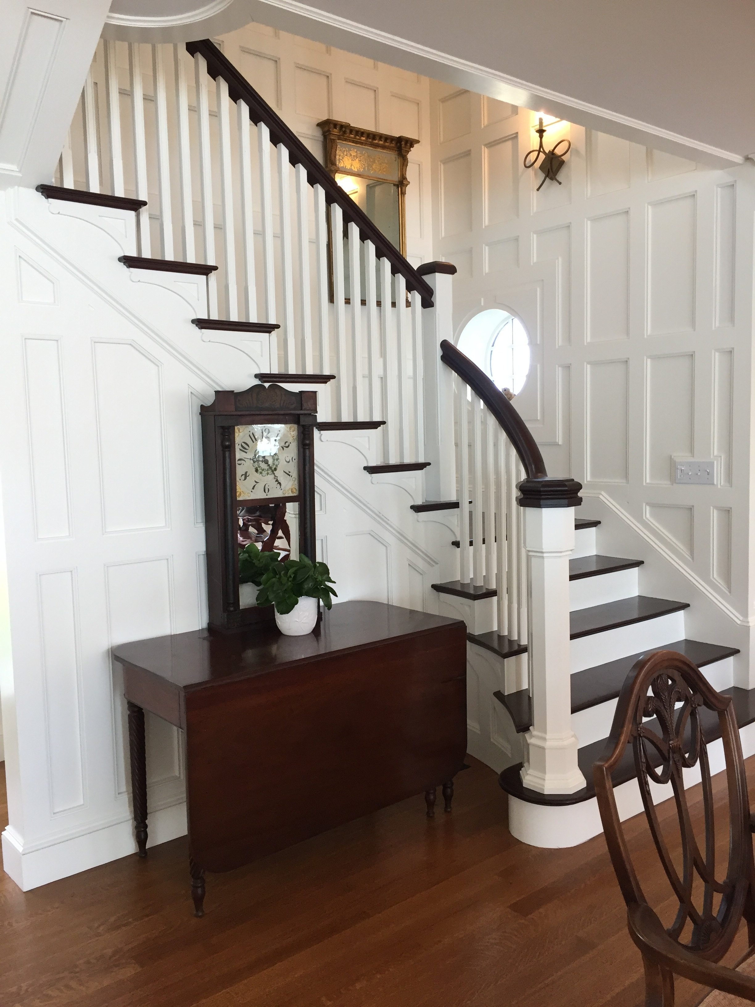The architectural detail of this stairway is evident, but unseen and sealed inside the lower newel post, one will find a time capsule secretly placed by the current family with hopes that someday, in the far future, others will find it.