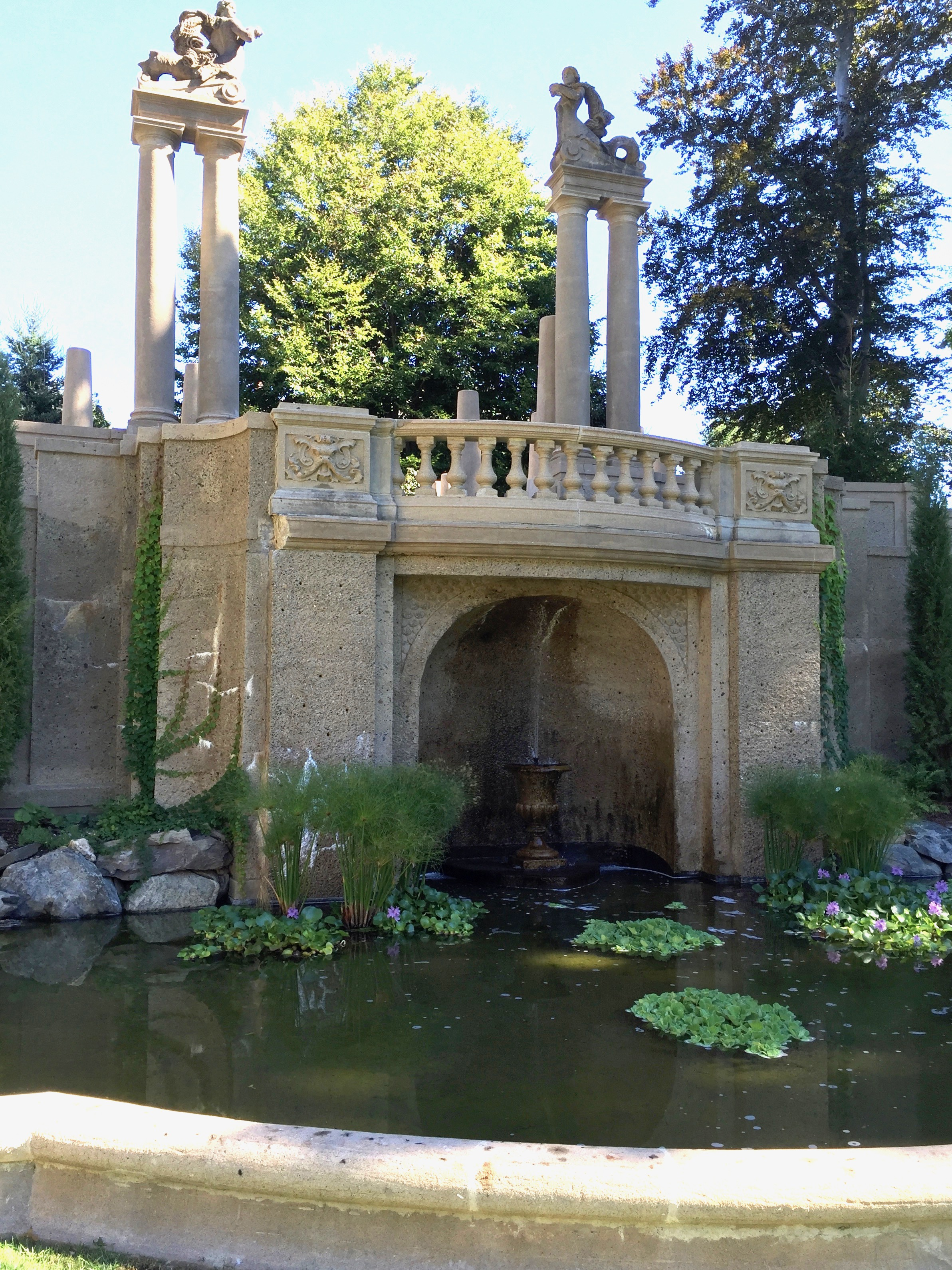 The water fountain at the Crane Estate in Ipswich, MA found in the formal gardens.