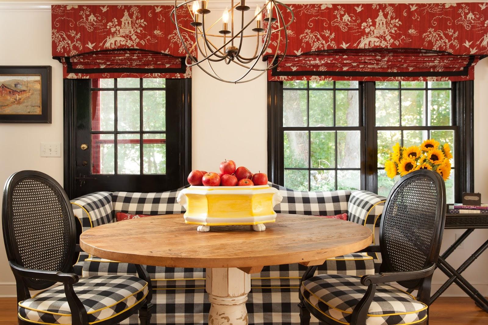 red toile window treatments kitchen design
