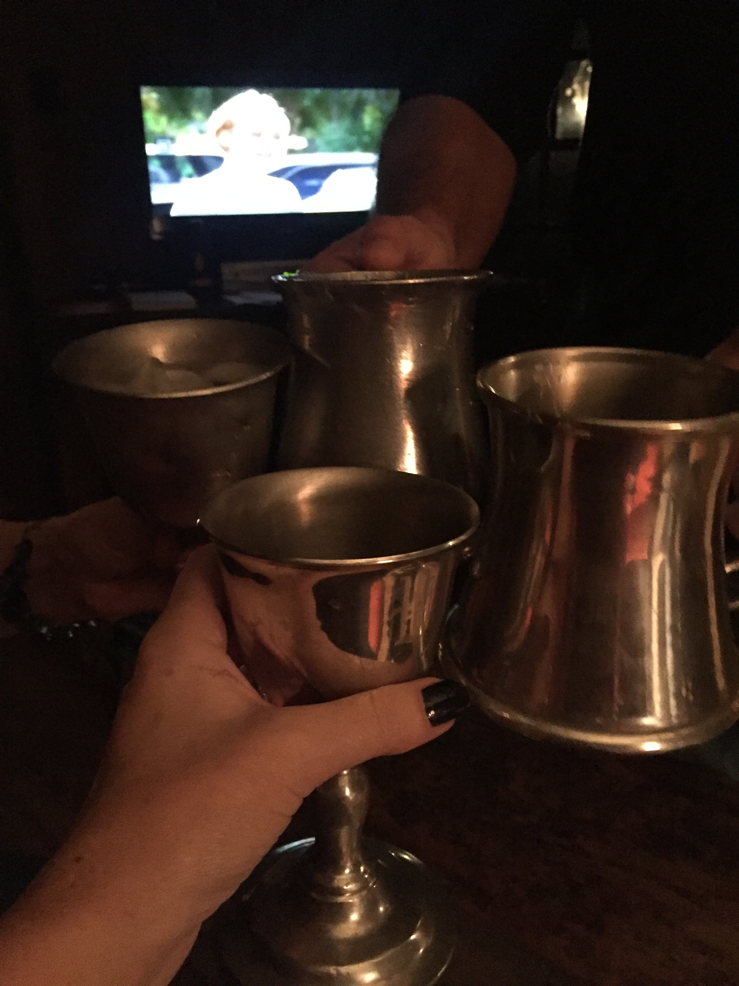 An impromptu call to friends who live close by, turned out to be a wonderful birthday celebration. We enjoyed a toast to our 35 plus year friendship (we have known each other from elementary school and high-school), birthdays, and then sipped our libations out of pewter cups and tankards. How appropriate!