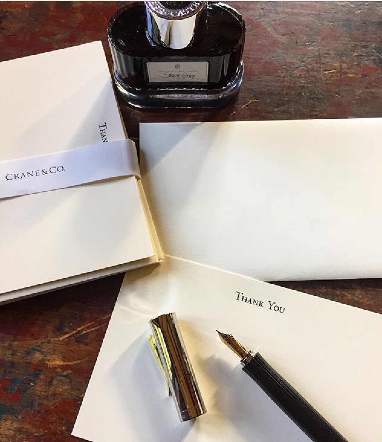 fountain pen  faber and note cards