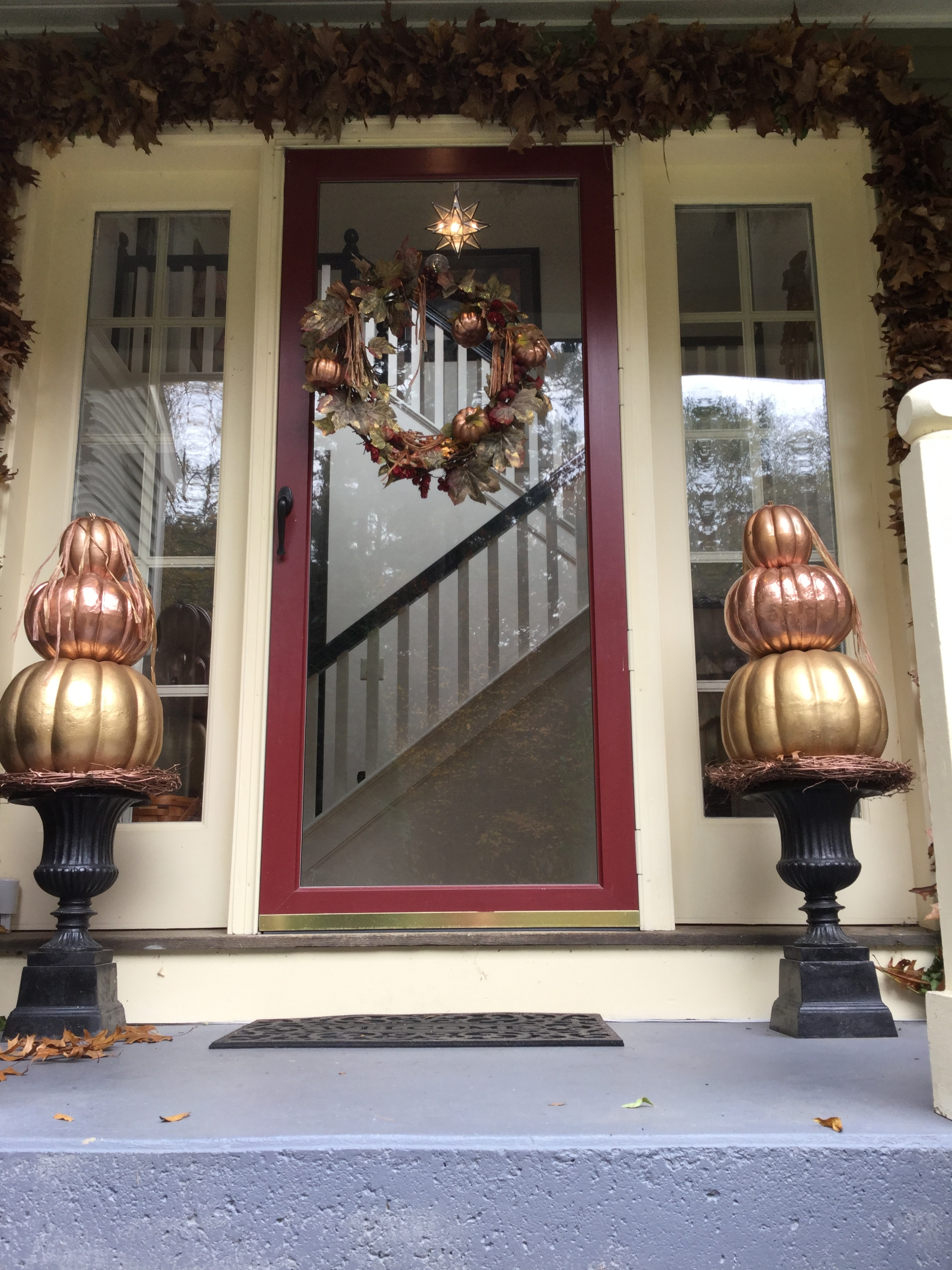 Fall front door decor, fall porch