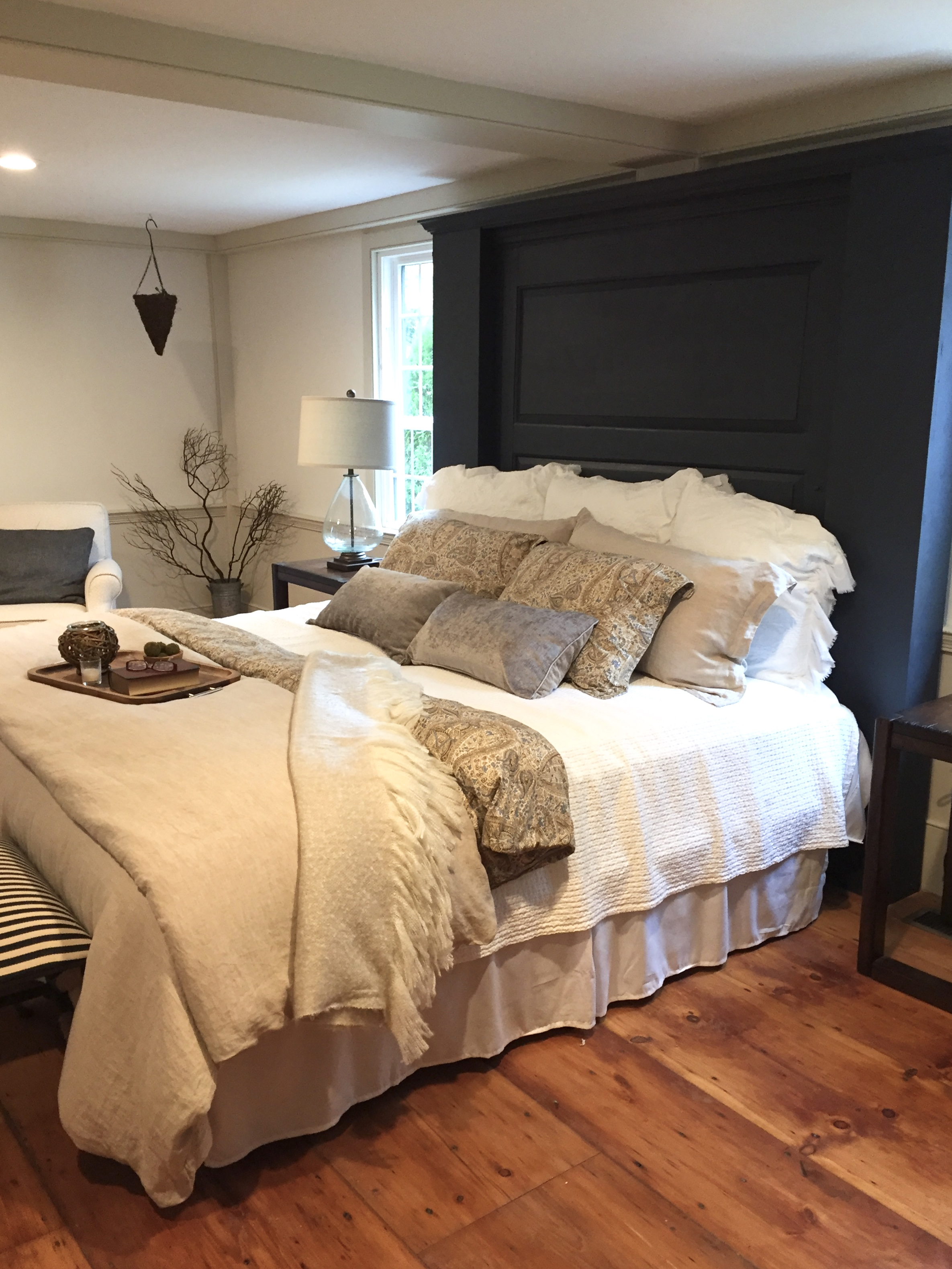 New England style bedroom fireplace mantle headboard
