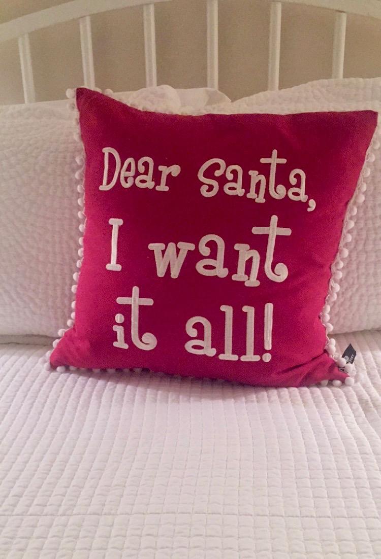 Dear Santa I want it all pillow