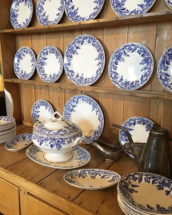 blue and white plates - antique hutch .jpg