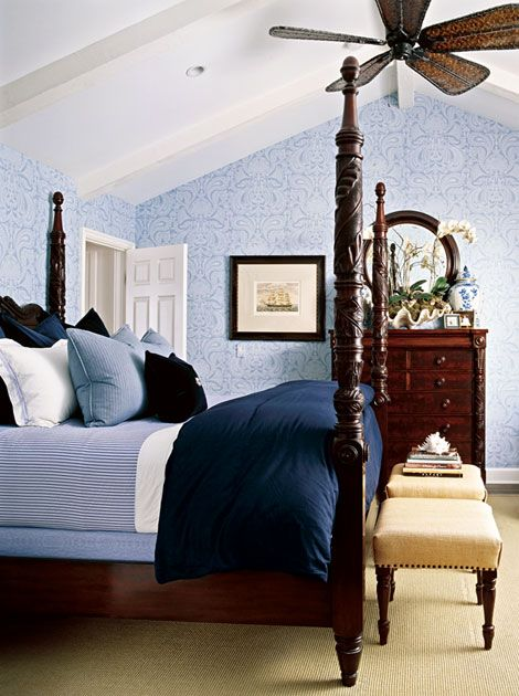 blue and white bedroom sand colored carpet by Barclay Butera .jpg