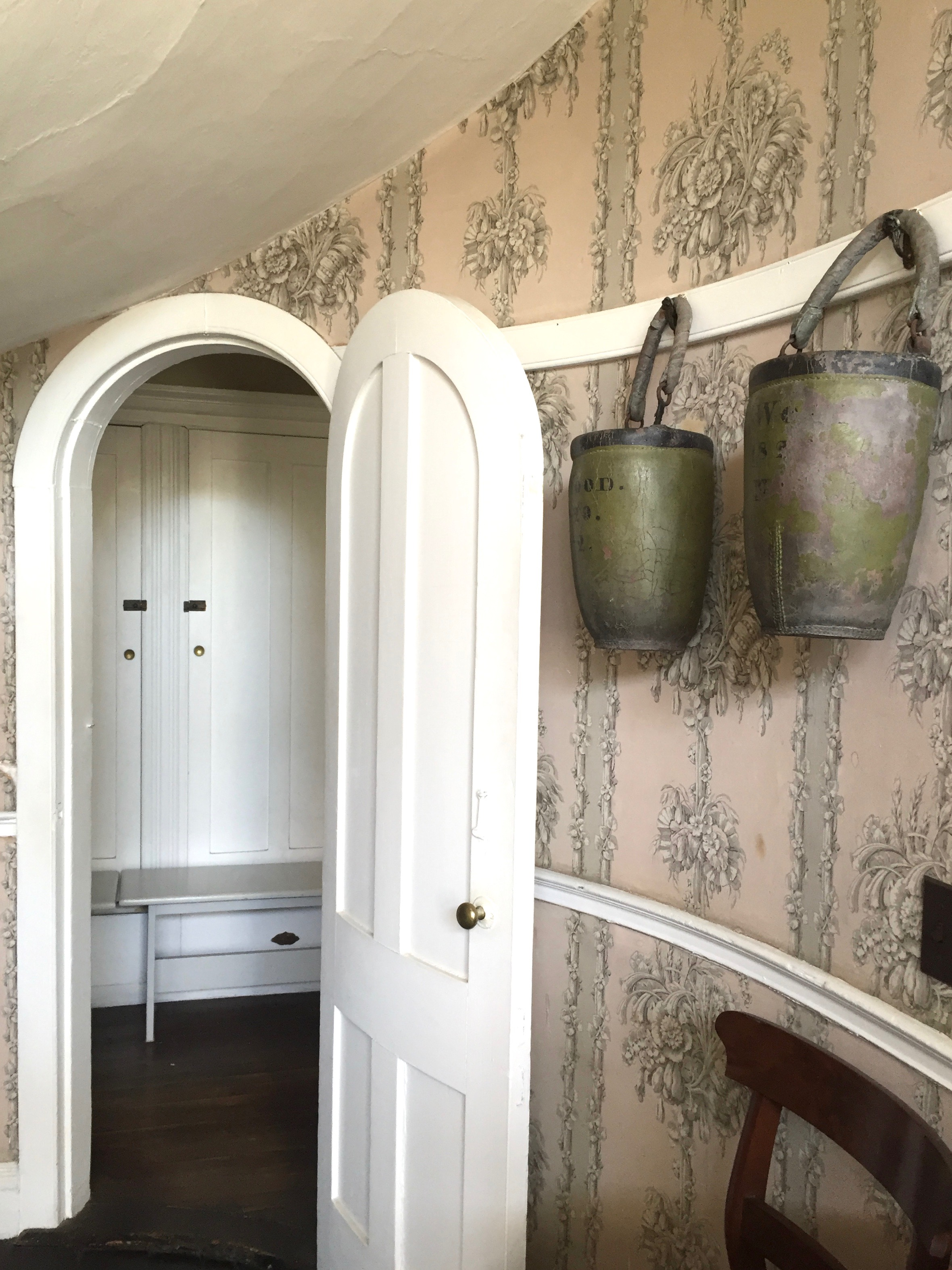Wallpaper in the foyer of a historic home in Maine - Photo - Linda Smith Davis