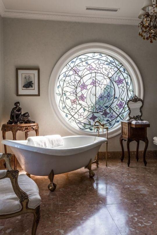 round window claw foot tub