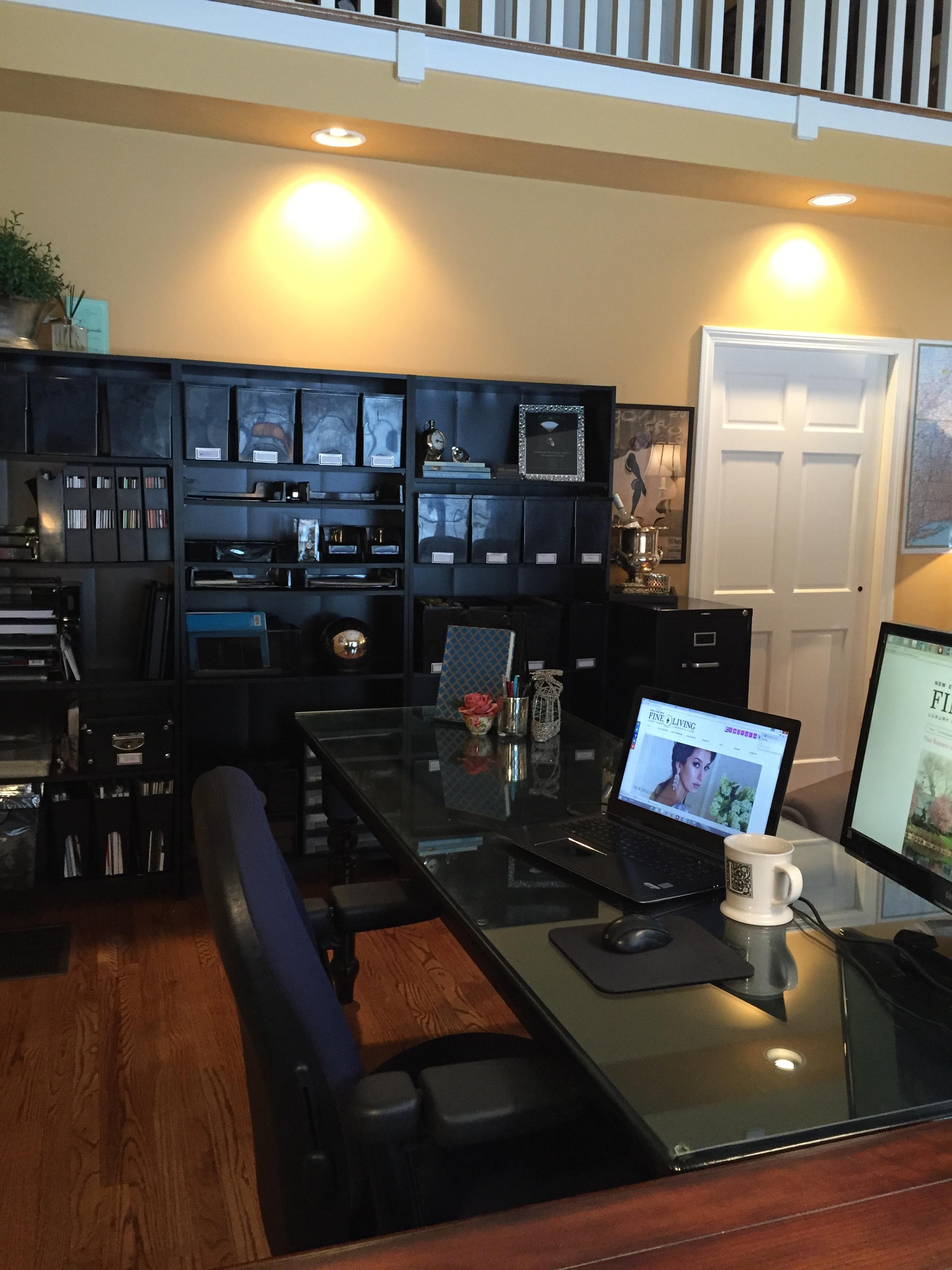 home office ideas black shelves black desk