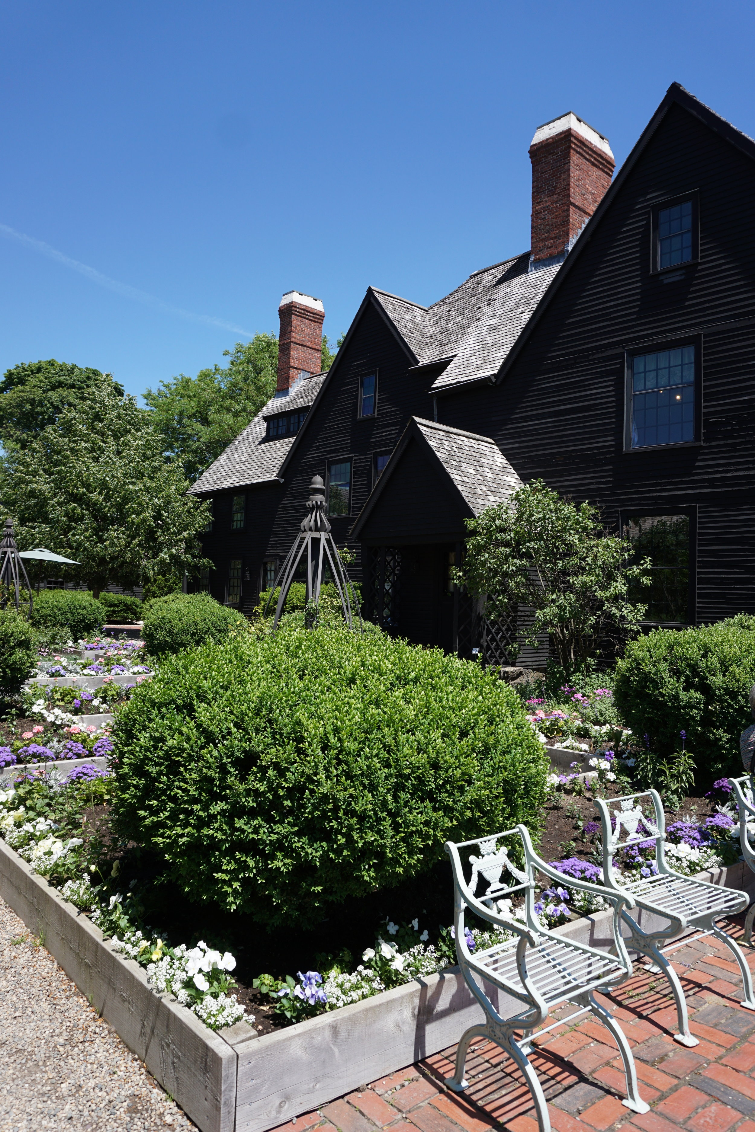 In the garden at The House of Seven Gables.