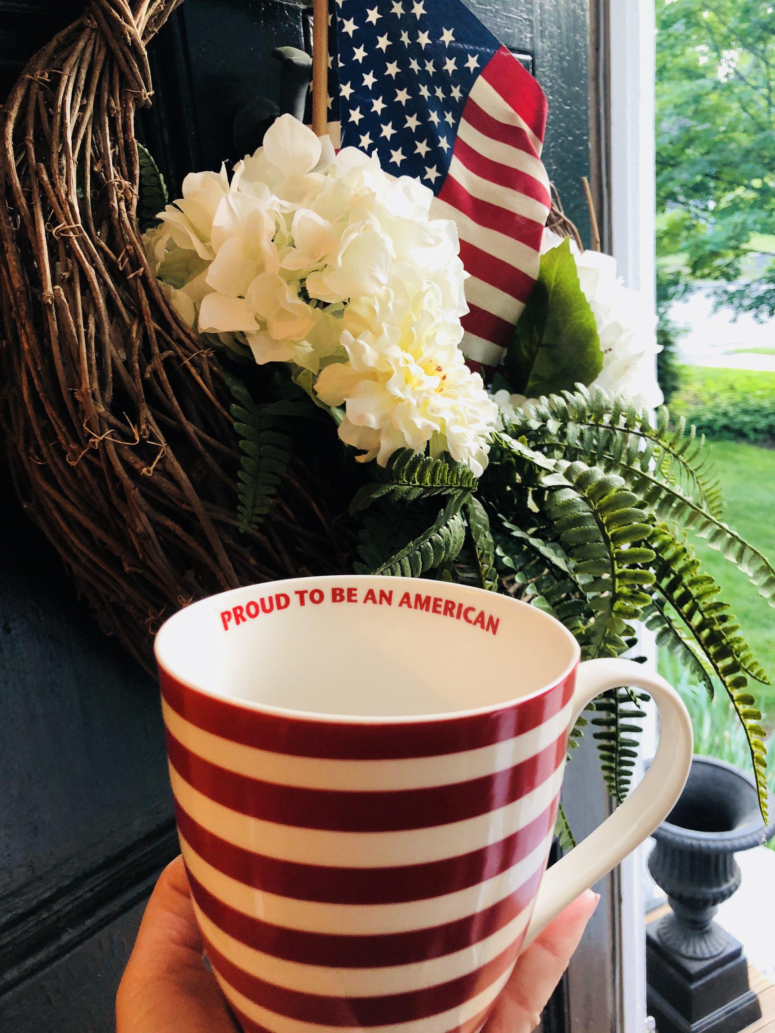 patriotic flag mug proud to be an American