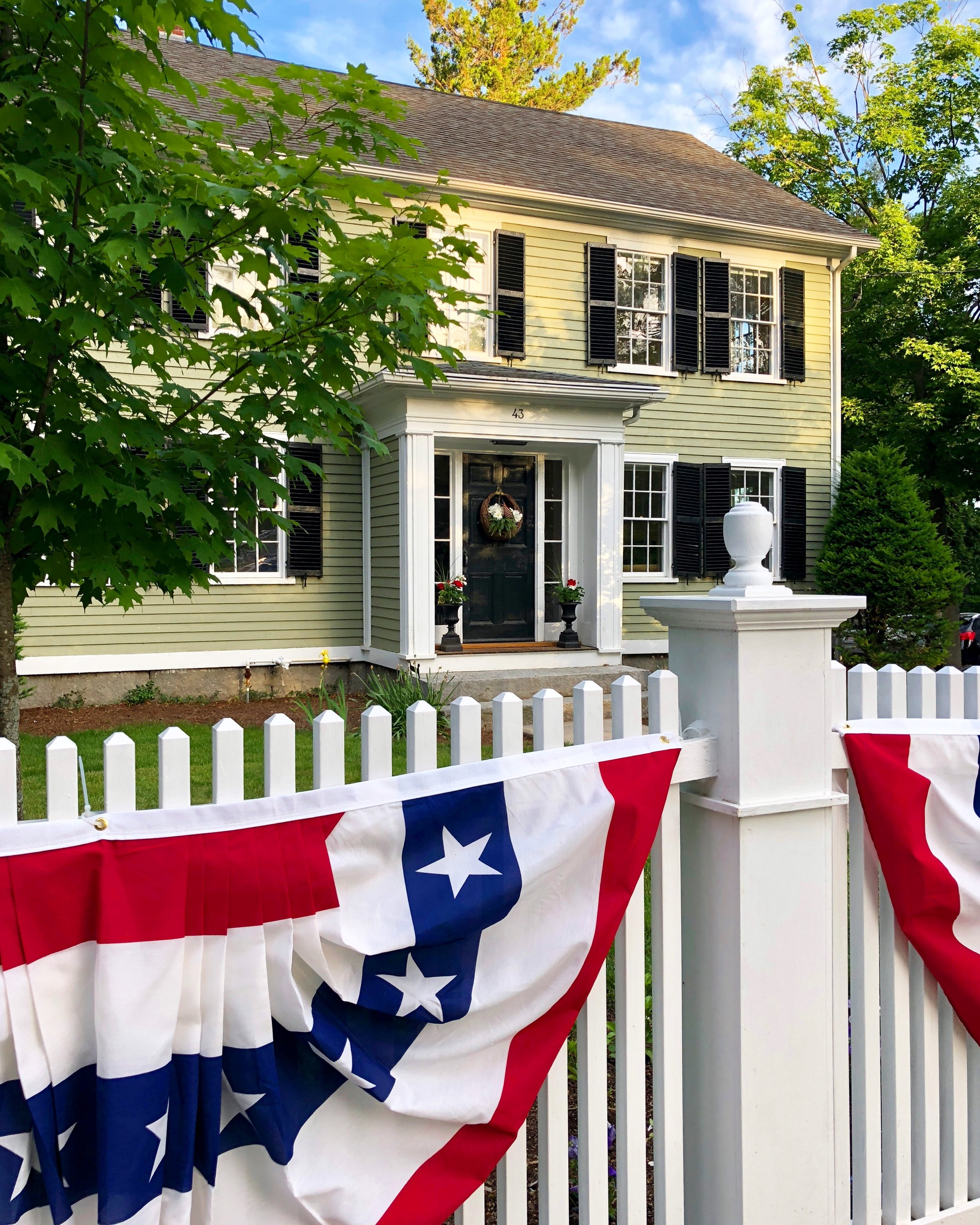 On day four of our moving in, I set out to find fabric red, white, and blue patriotic Bunting for our new home and fence. I could not be more pleased with the quality of this bunting that is made in the usa.