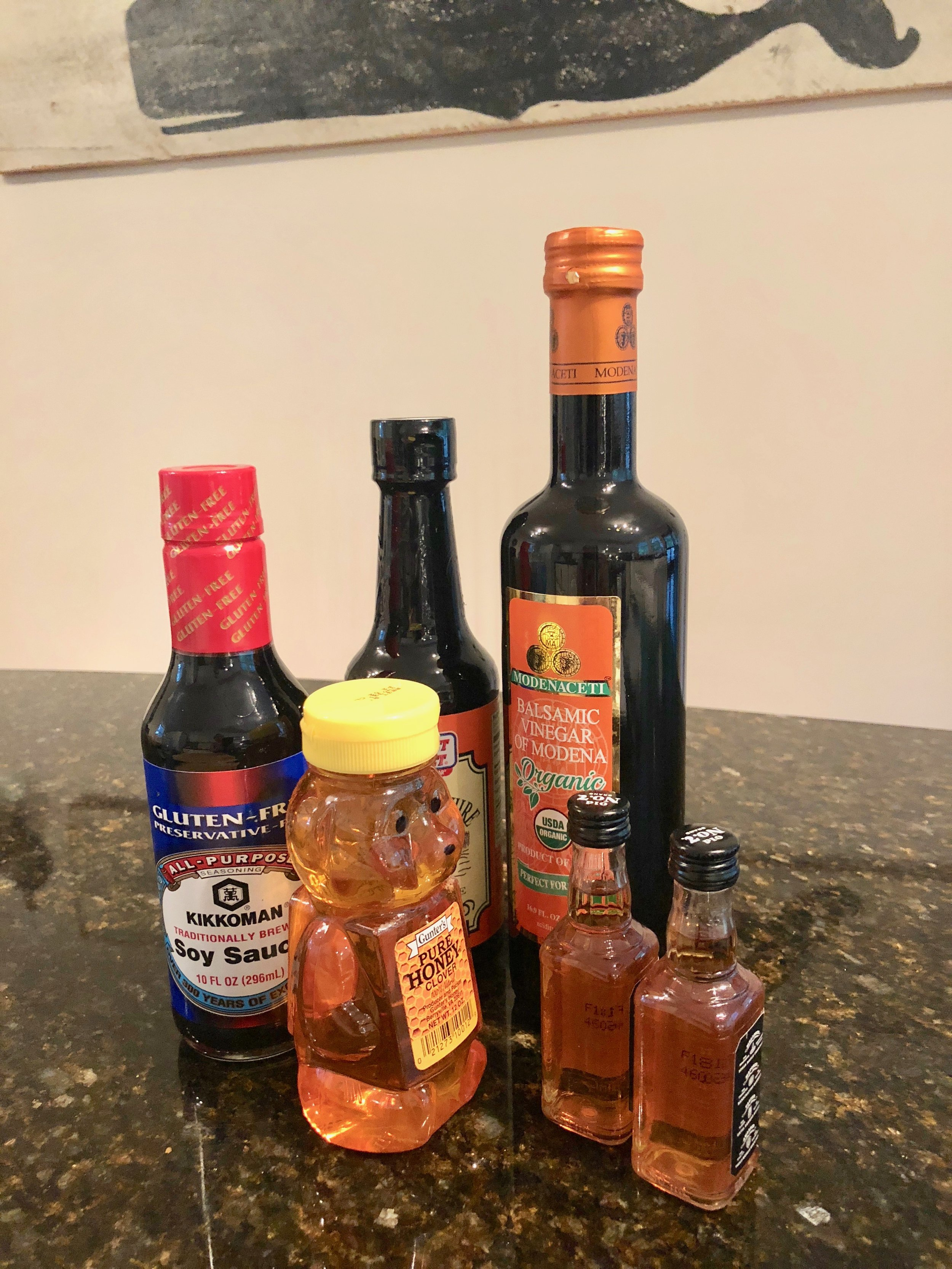 my base ingredients for a Bourbon marinade - Soy souce, honey, Worcestershire sauce, balsamic vinegar, bourbon (or an american whiskey), salt