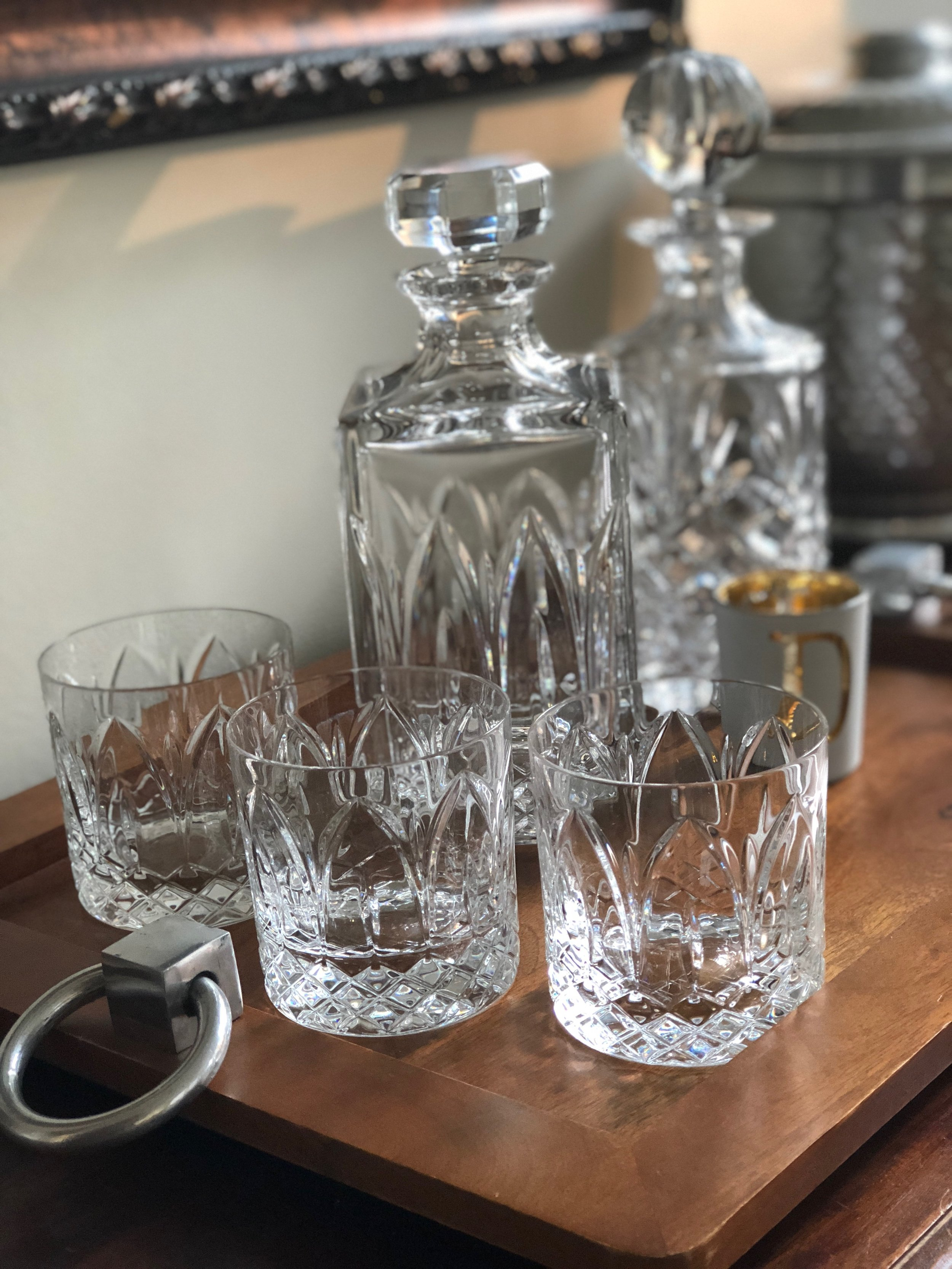 There is just something about pouring our favorite cocktail libations out of these beautiful decanters. Our full lead crystal Chartres decanter and old fashioned glasses are by Vista Alegra.