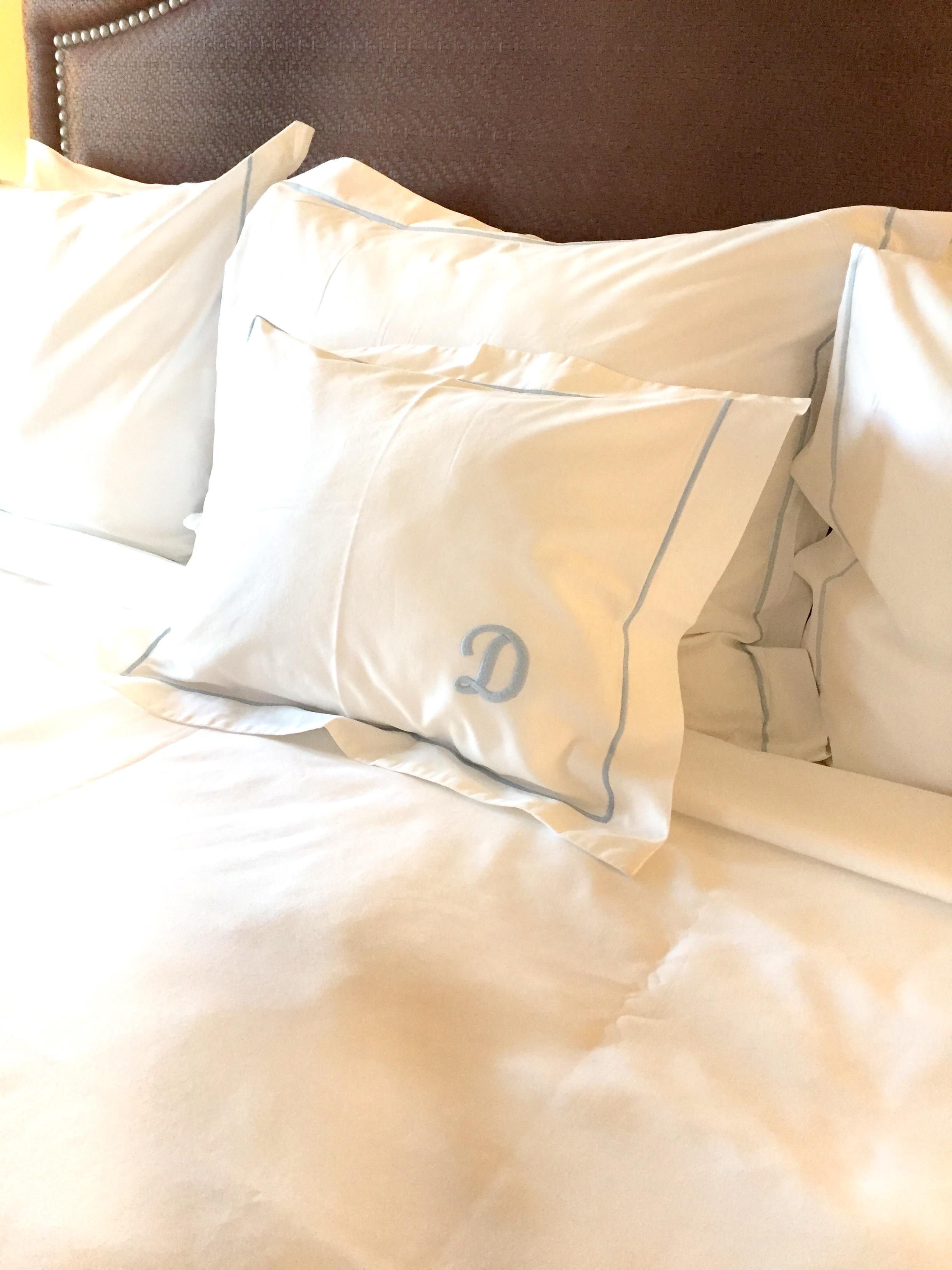 monogrammed pillow luxury bedding