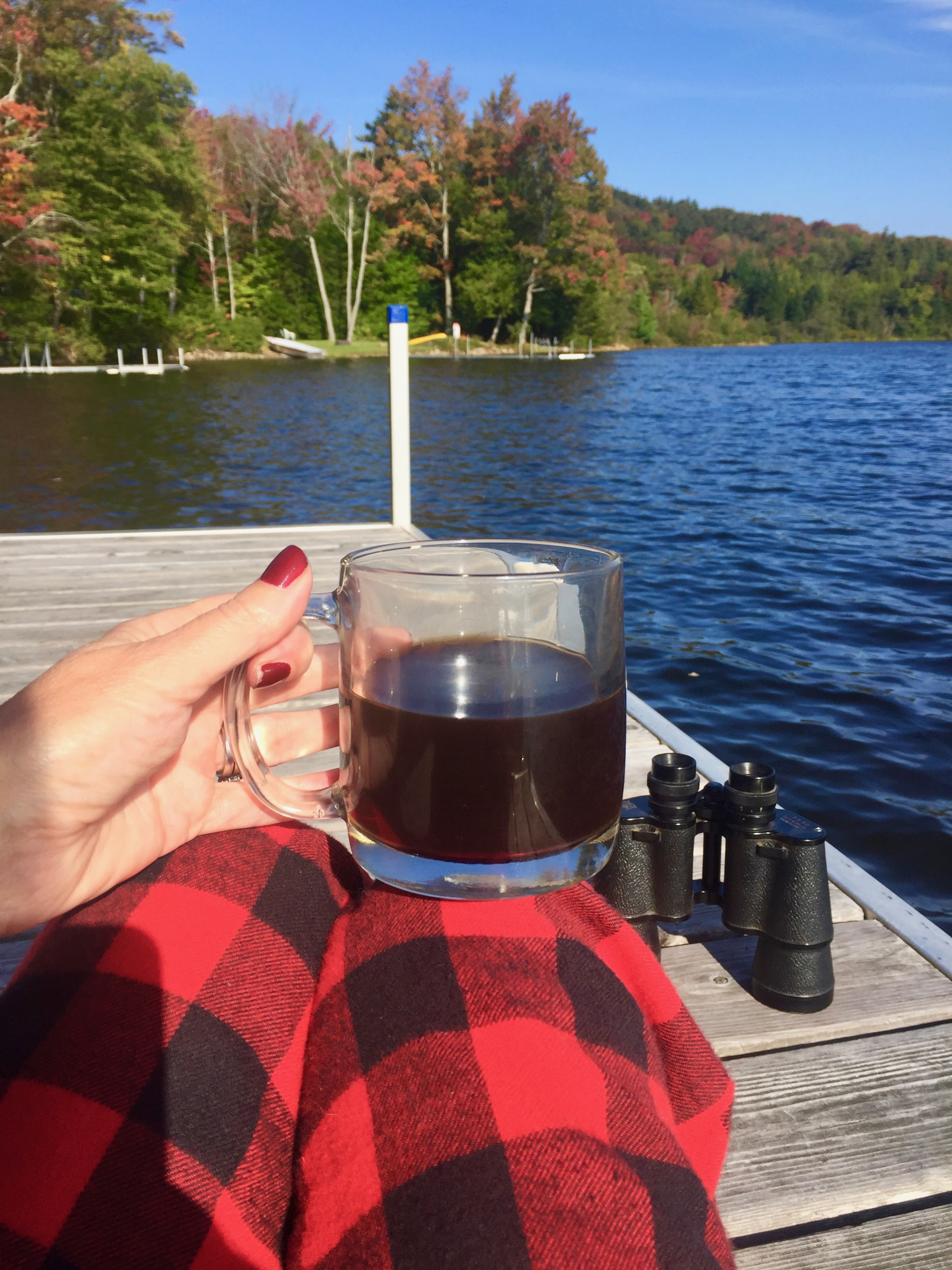 """Whenever we are at our getaway cabin in the mountains of Maine, I look forward to the chilly nights so that I can wear my  Woolrich black and red buffalo check pajama pants  and black flannel top. PS, I am a shorty at 5'2"""" and these are a good length on me, just breaking on the top of my feet."""