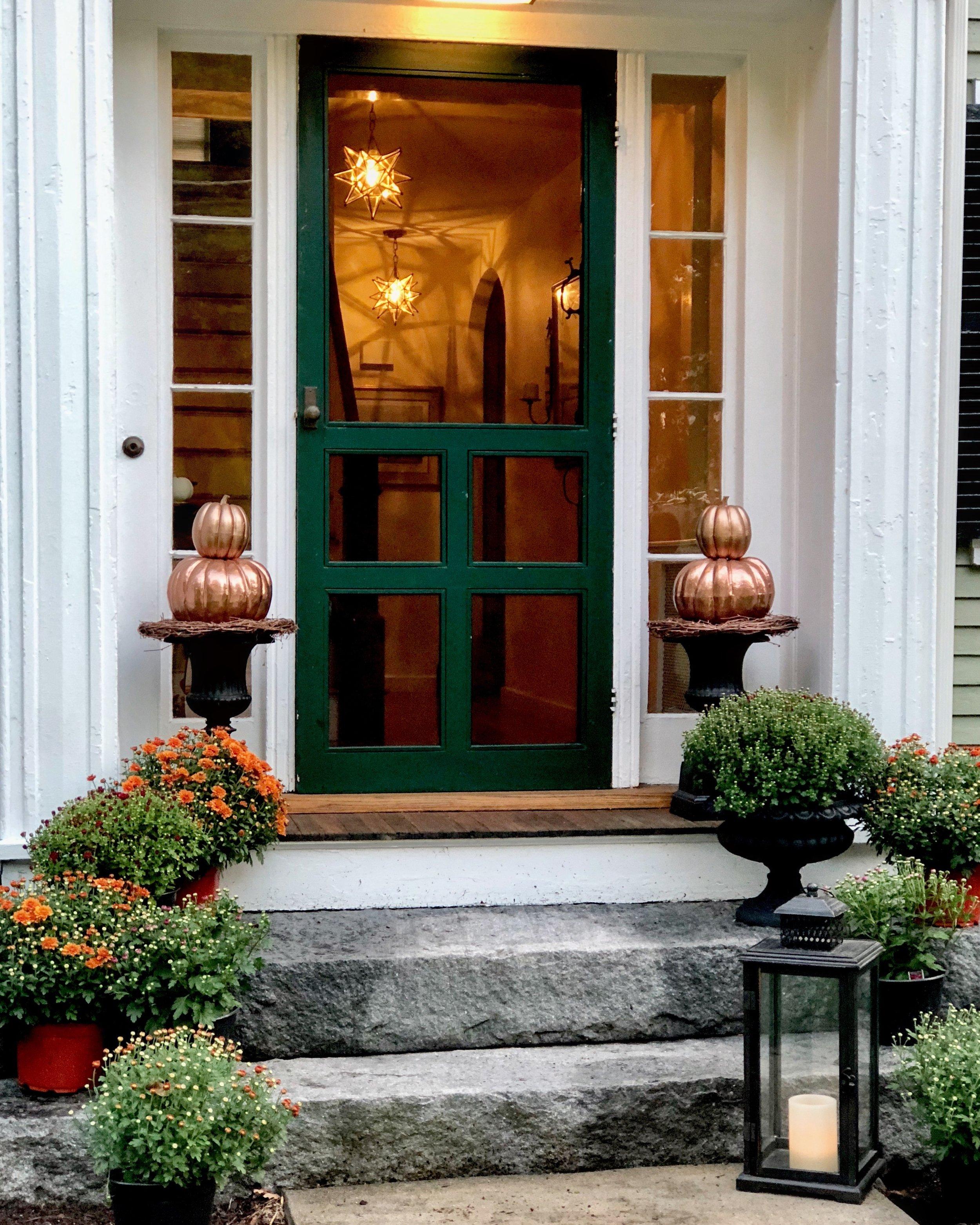 fall front door Moravian lights
