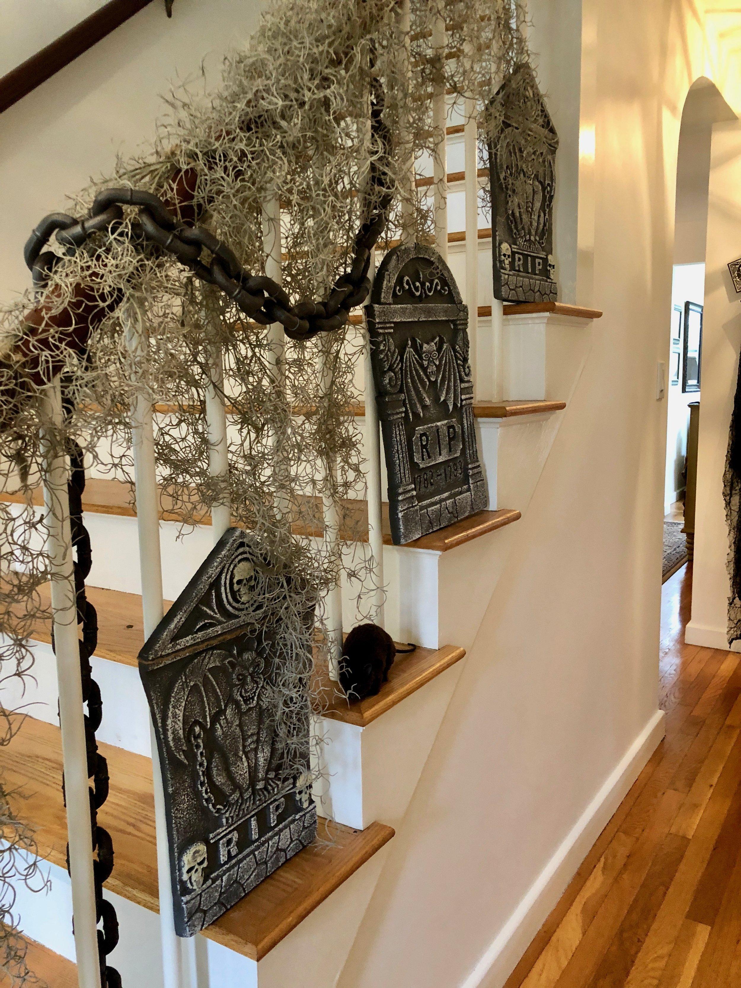 gravestones on stairs Halloween decor
