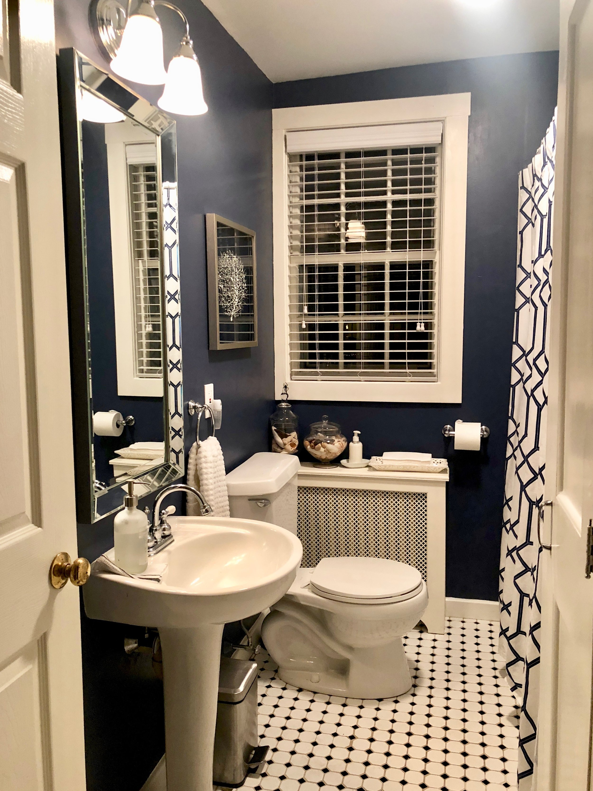 blue white silver bathroom