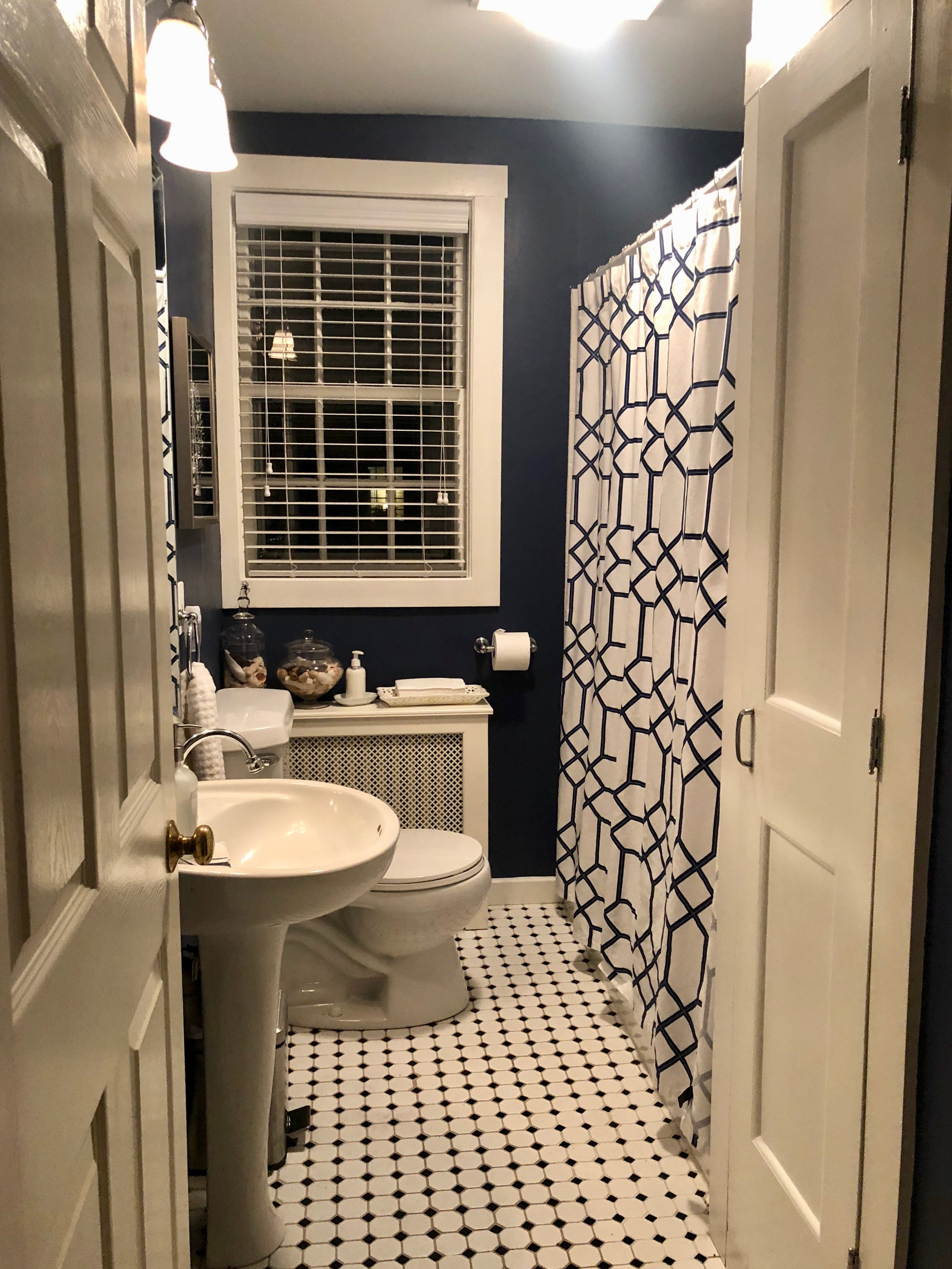 blue, white, and silver vintage bathroom