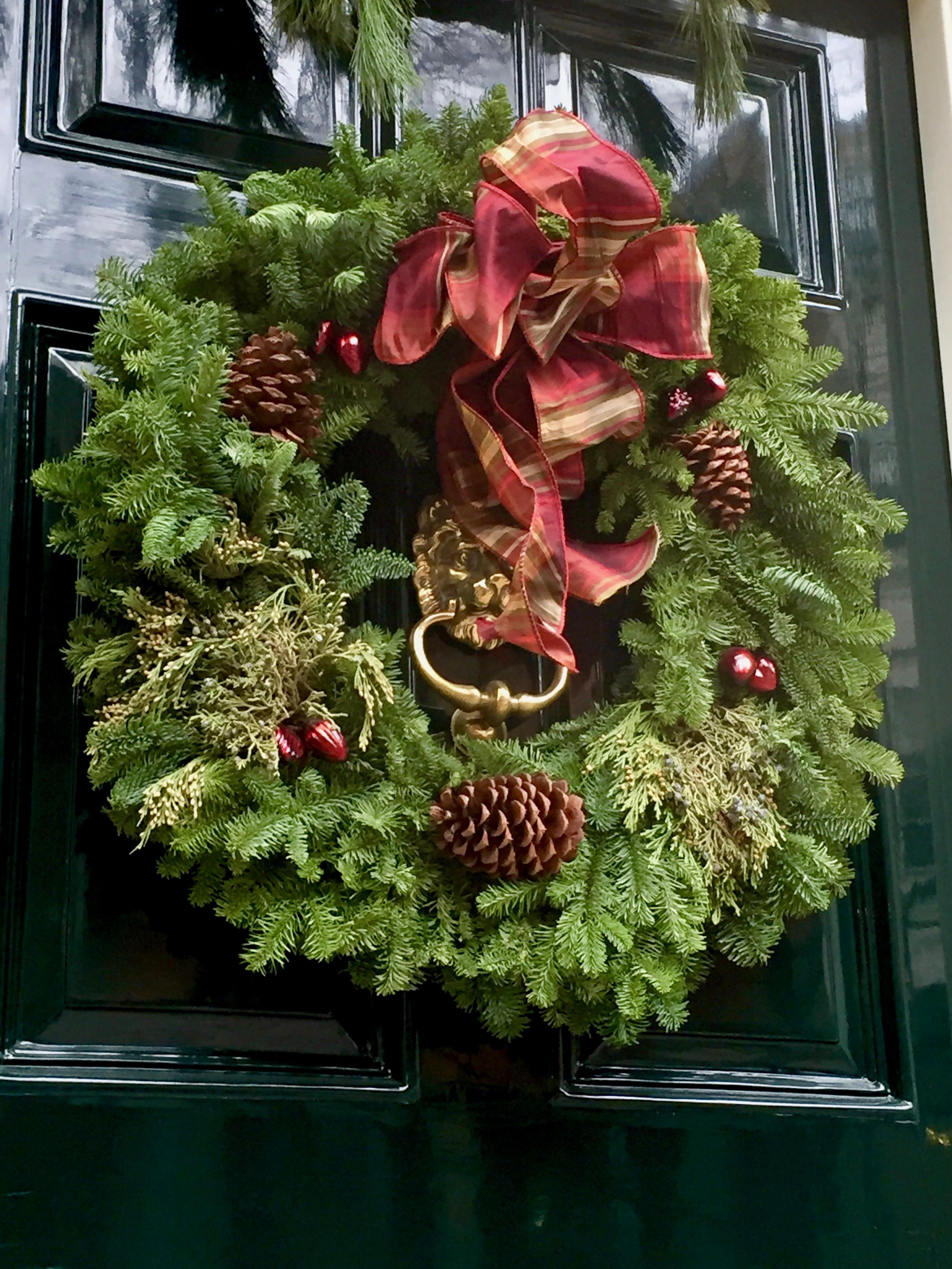 Beacon Hill Front door wreath Christmas in New England.jpg