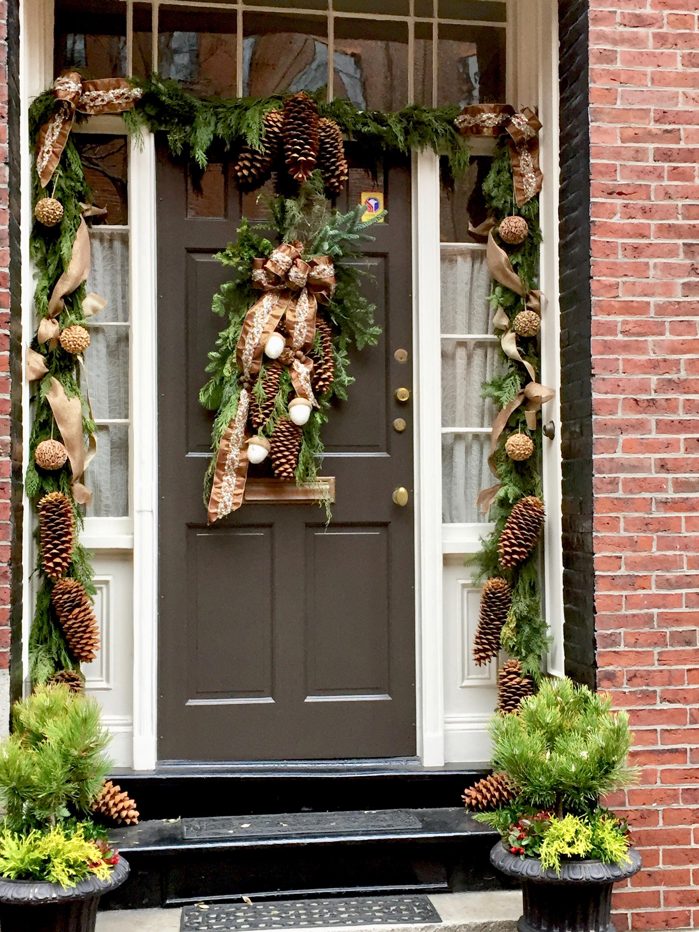 Pinecone Christmas Front Door Beacon Hill Boston MA New England.jpg