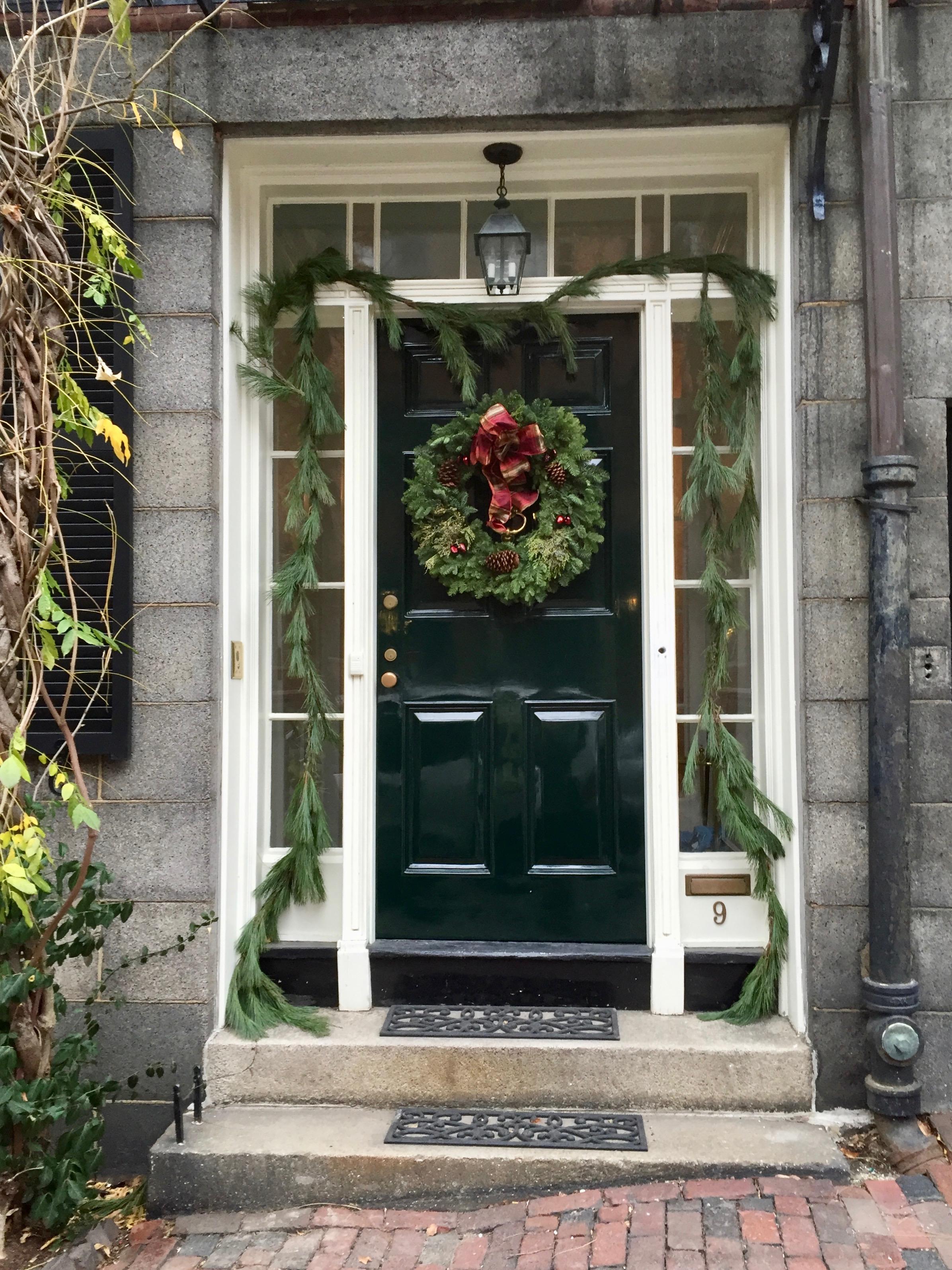 Stone house on Beacon Hill Christmas in Boston.jpg