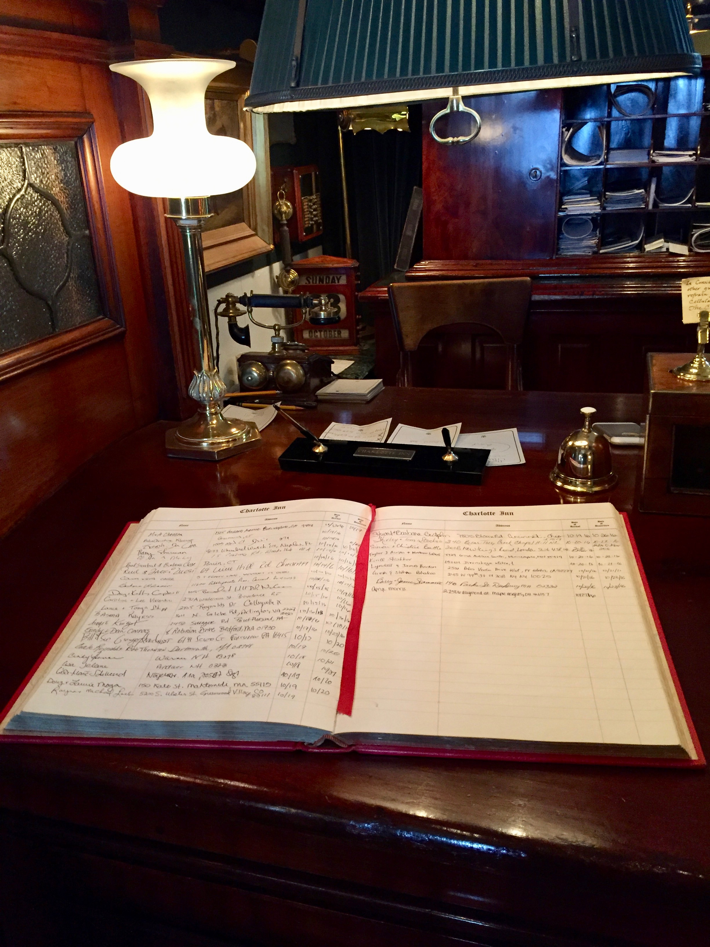Guest book at Charlotte Inn with New England Fine Living