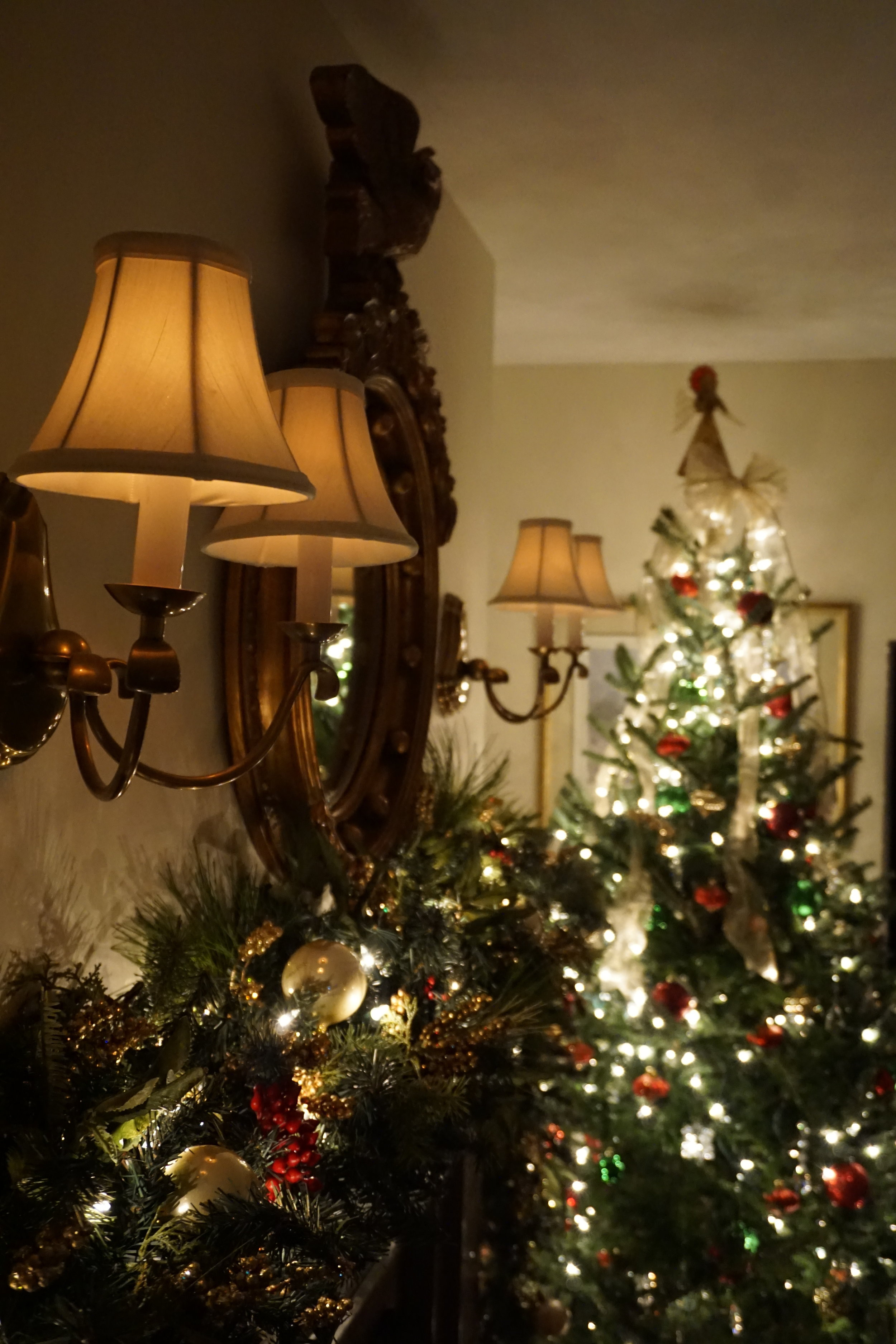 mantel in colonial home decorated for Christmas