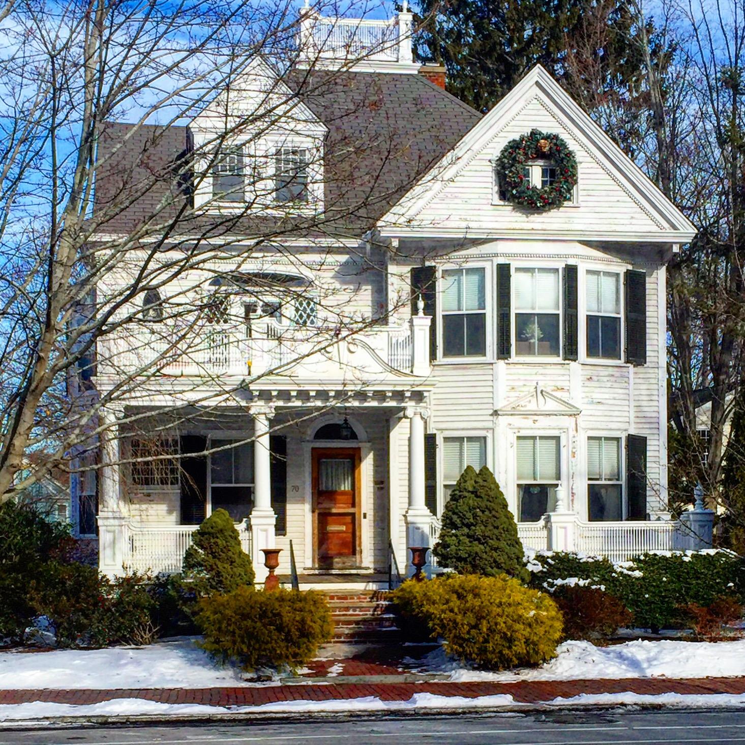white victorian white trim black shutters red door Newburyport MA New England USA.jpg
