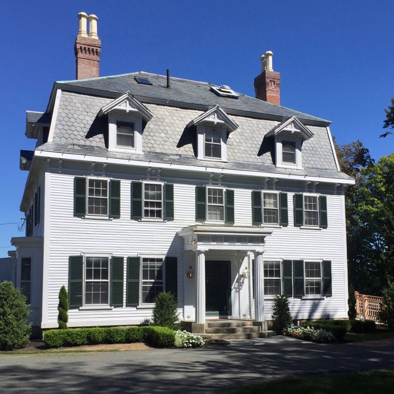 Historic antique home white with green shutters Topsfield MA New England home.jpg