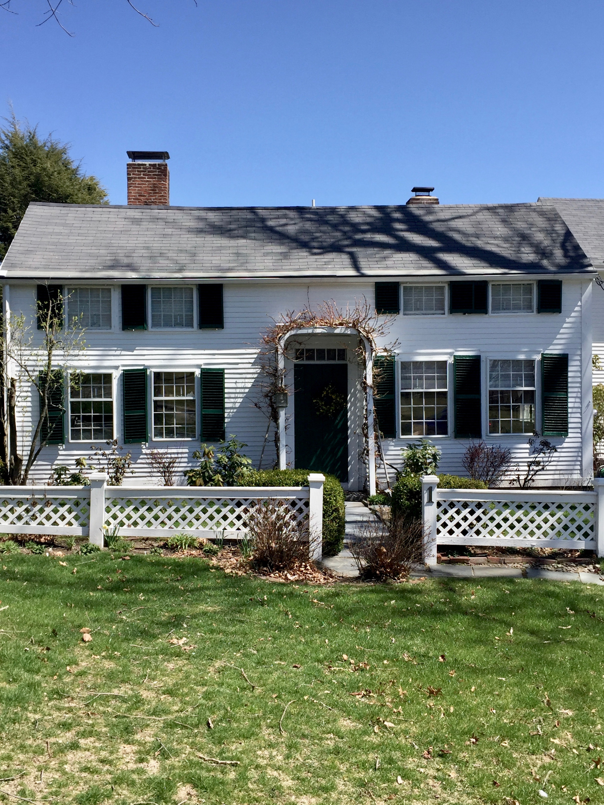 Harvard antique historic home white house green trim New England style home.jpg