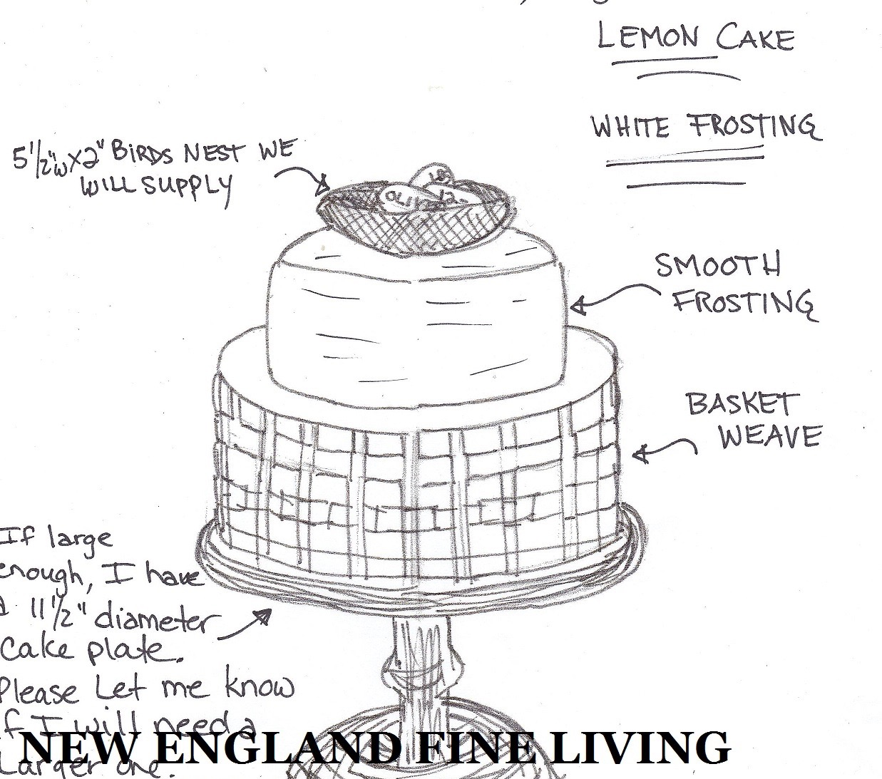 Cake drawing for birds nest - welcome baby - New England Fine Living.jpg
