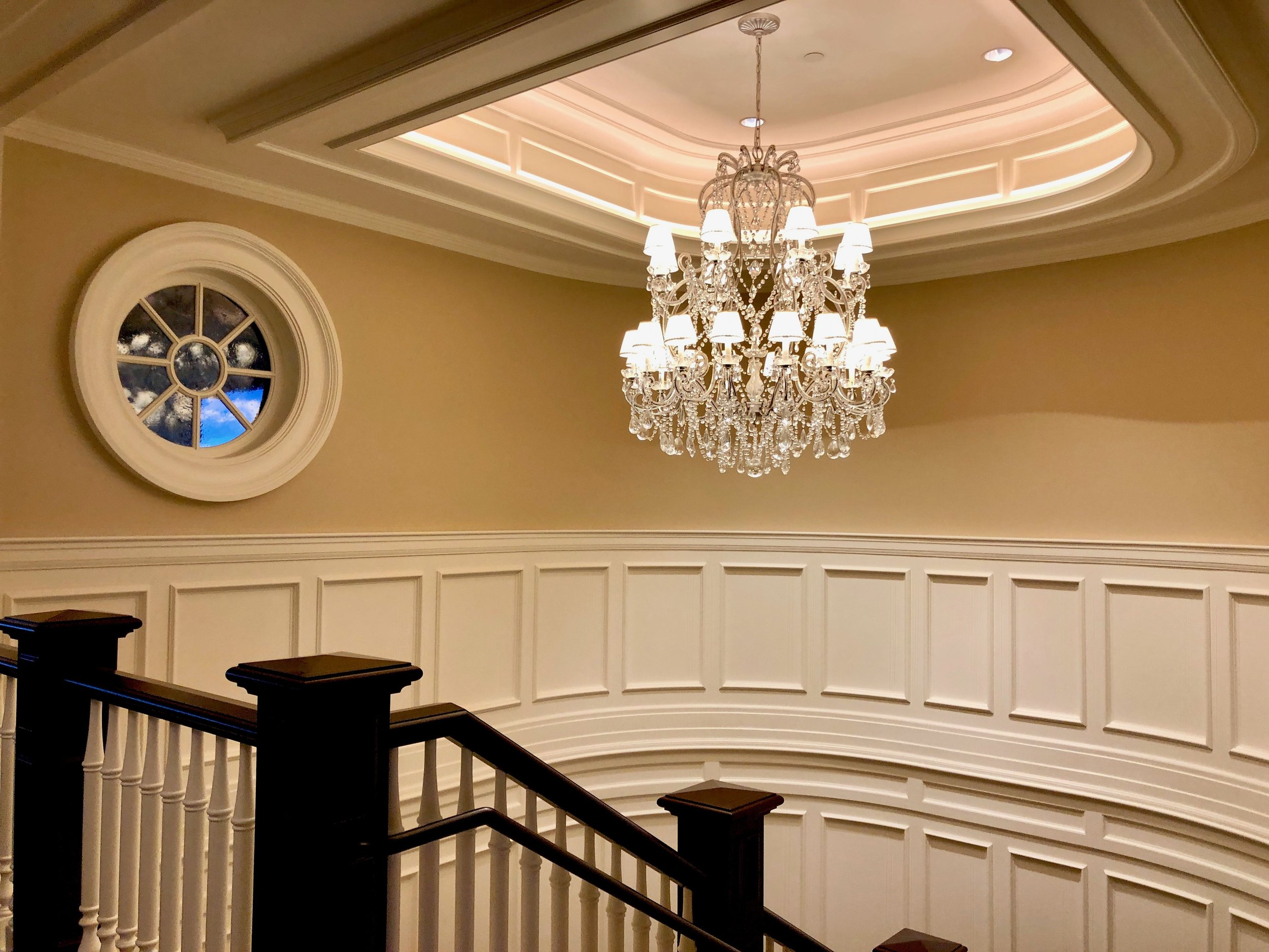 Boothbay Harbor Country Club stairway and chandelier.jpg
