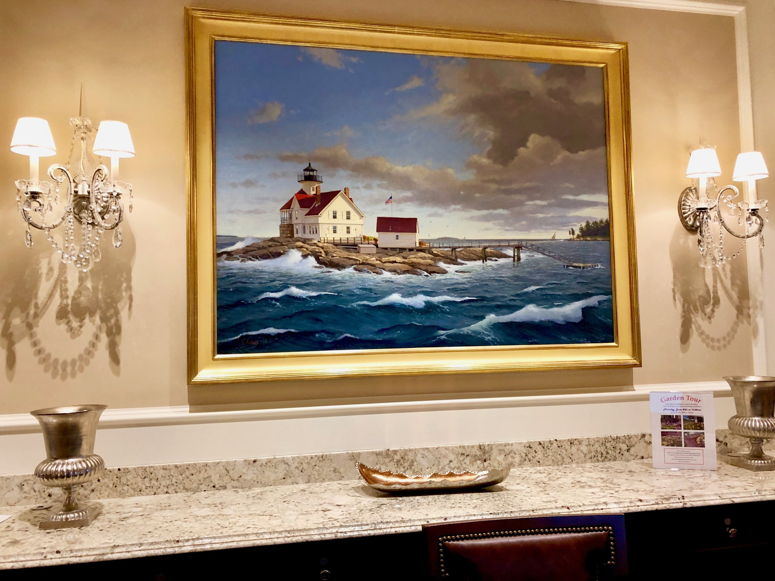 Behind the front desk, one will find an oil painting commissioned for the lobby. The painting is of what is now  The Inn at Cuckholds Lighthouse
