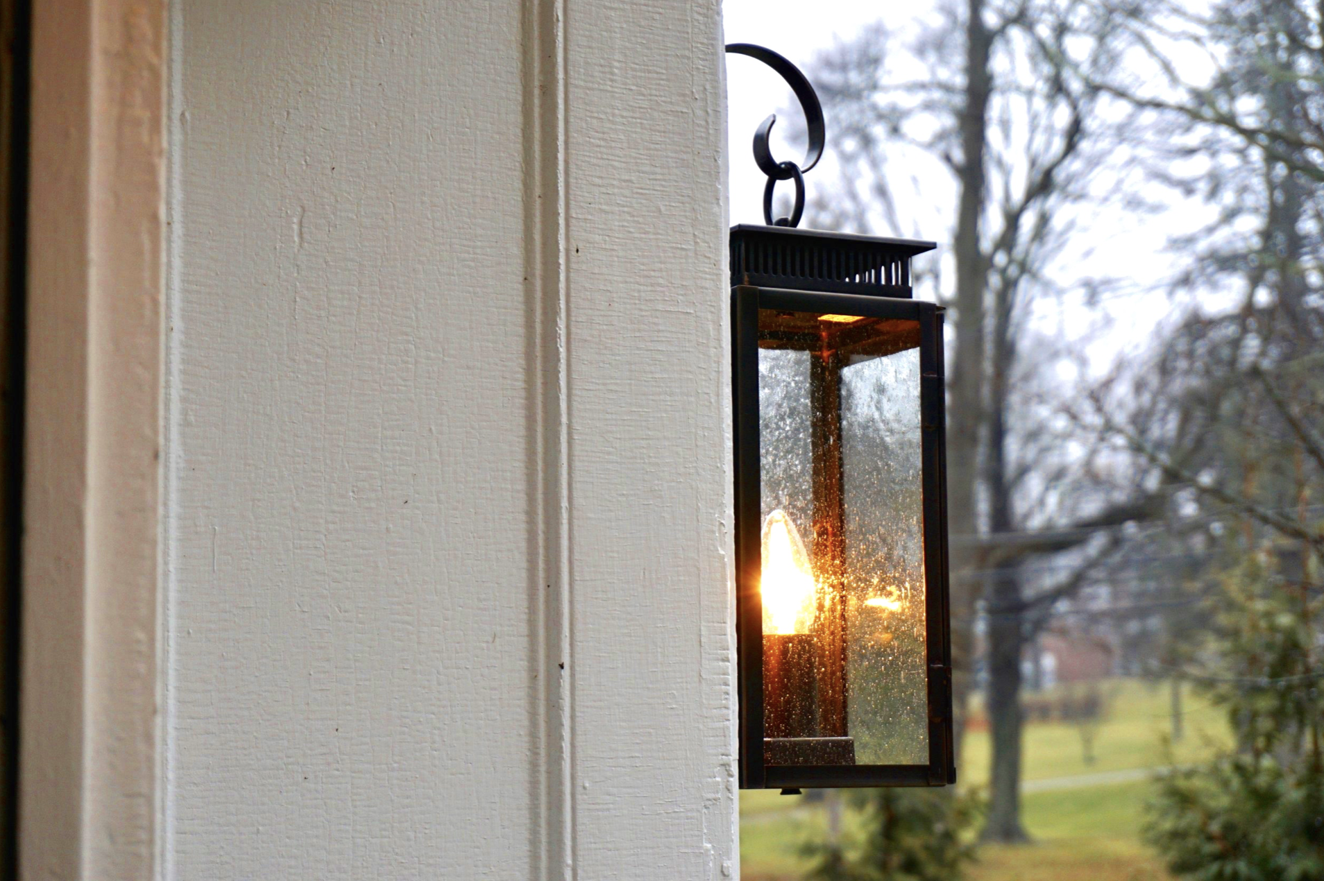 lanterns on the portico of historic home