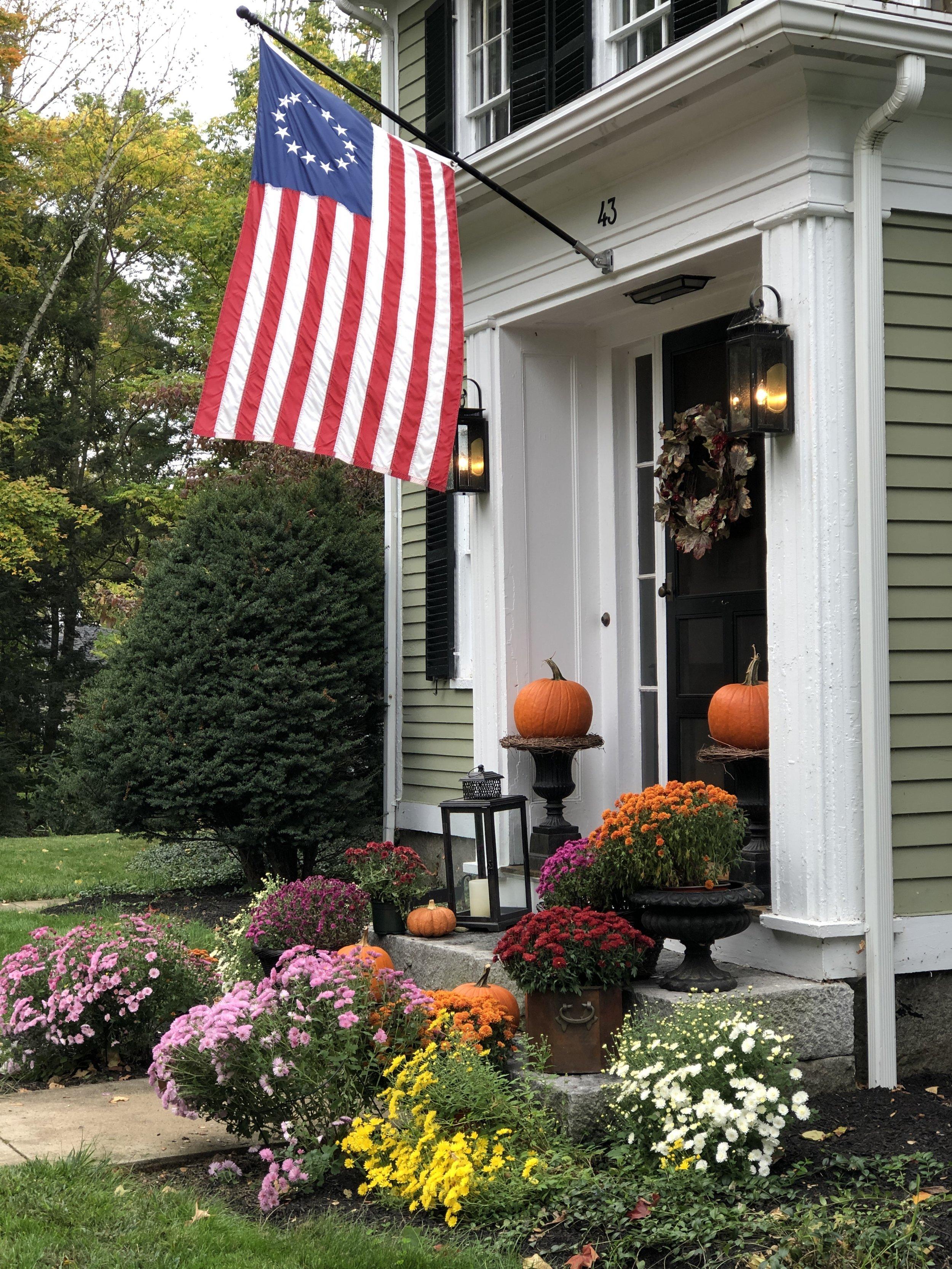pumpkins and mums front door decor